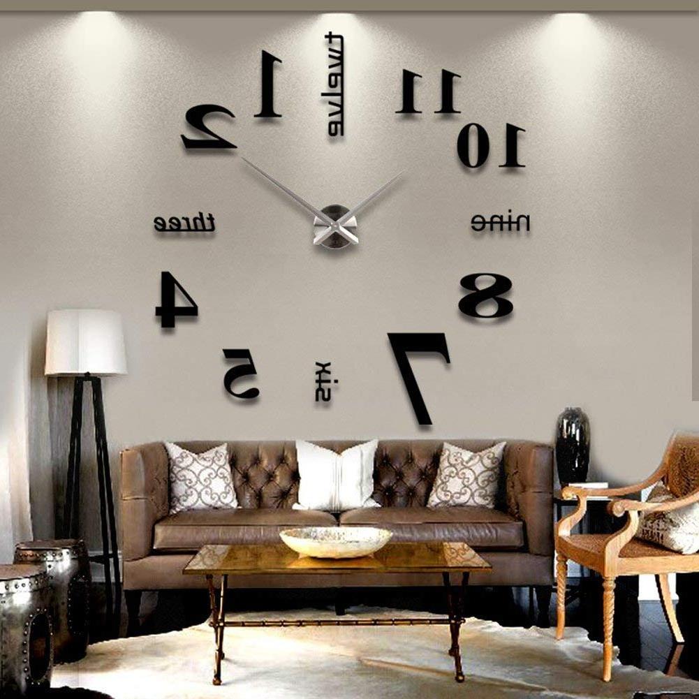 Zjchao Modern Diy Large Wall Clock 3D Mirror Surface Sticker Home Office  Living Room Design Decor (Black) For 2019 Diy Large Wall Mirror (Gallery 15 of 20)