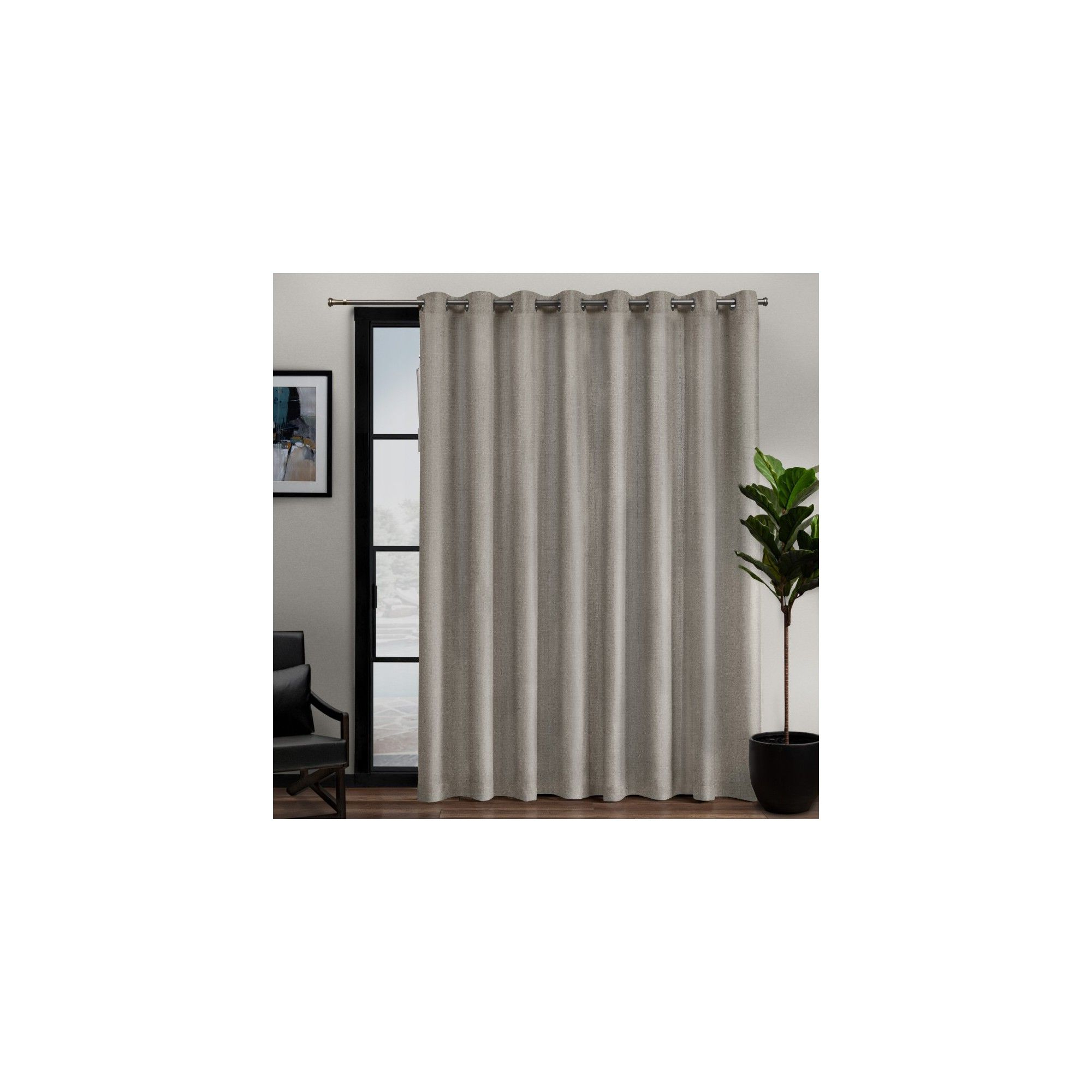 "108""x84"" Loha Patio Grommet Top Single Curtain Panel Beige In Well Known Patio Grommet Top Single Curtain Panels (View 11 of 20)"