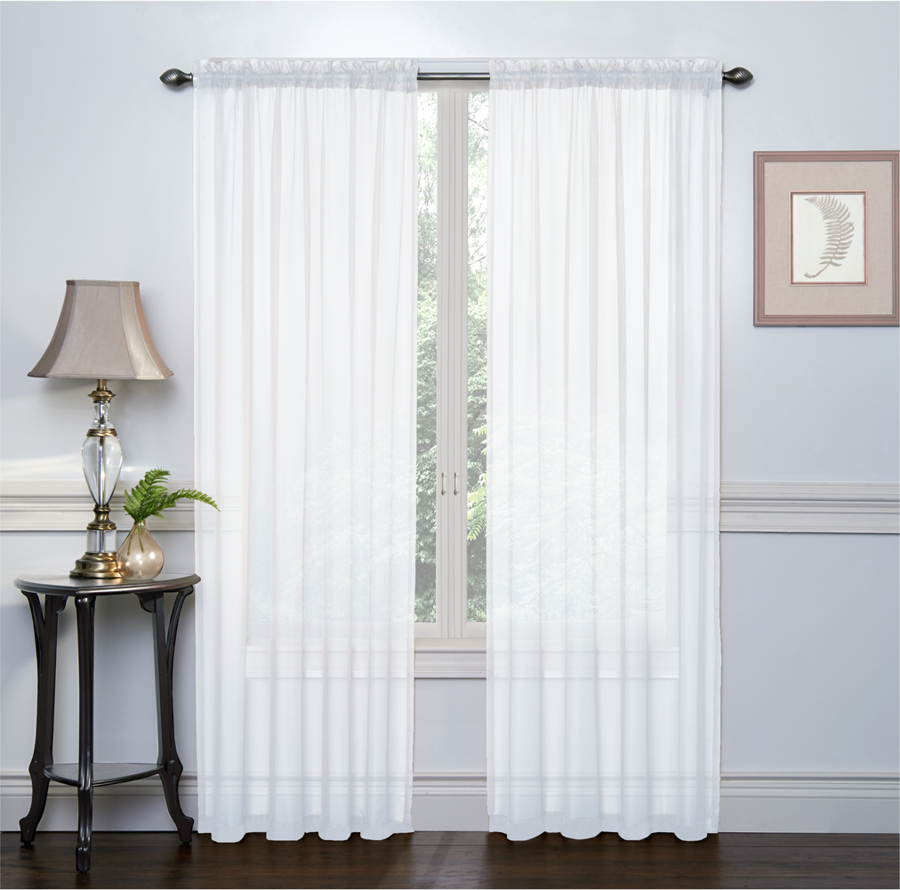 2 Pack: Ultra Luxurious High Thread Rod Pocket Sheer Voile Window Curtains Goodgram® – White Within Latest Luxury Collection Venetian Sheer Curtain Panel Pairs (View 12 of 20)