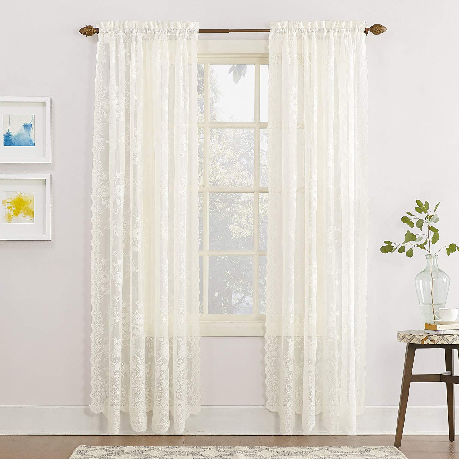 Featured Photo of Alison Rod Pocket Lace Window Curtain Panels