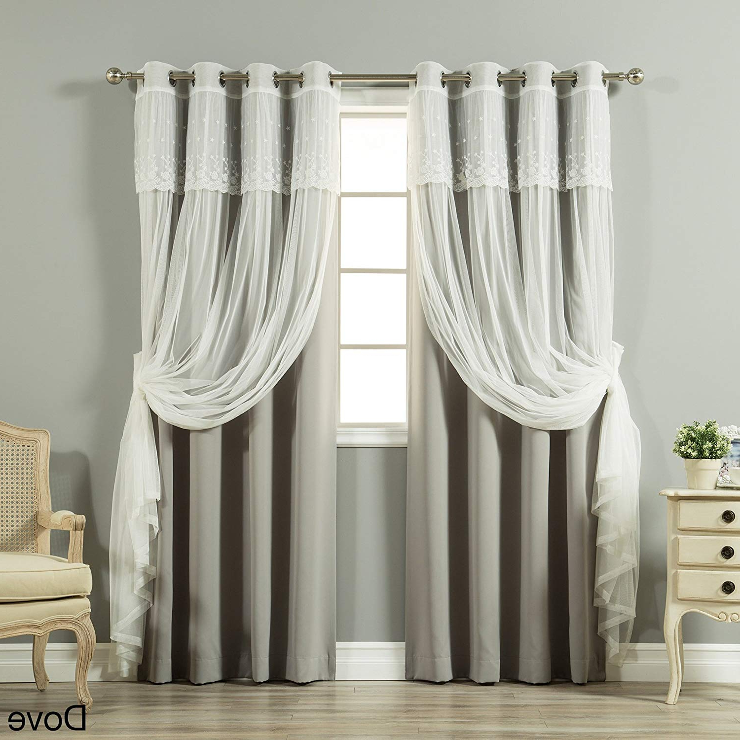 2020 Amazon: Aurora Home Tulle Sheer With Attached Valance With Tulle Sheer With Attached Valance And Blackout 4 Piece Curtain Panel Pairs (View 8 of 20)