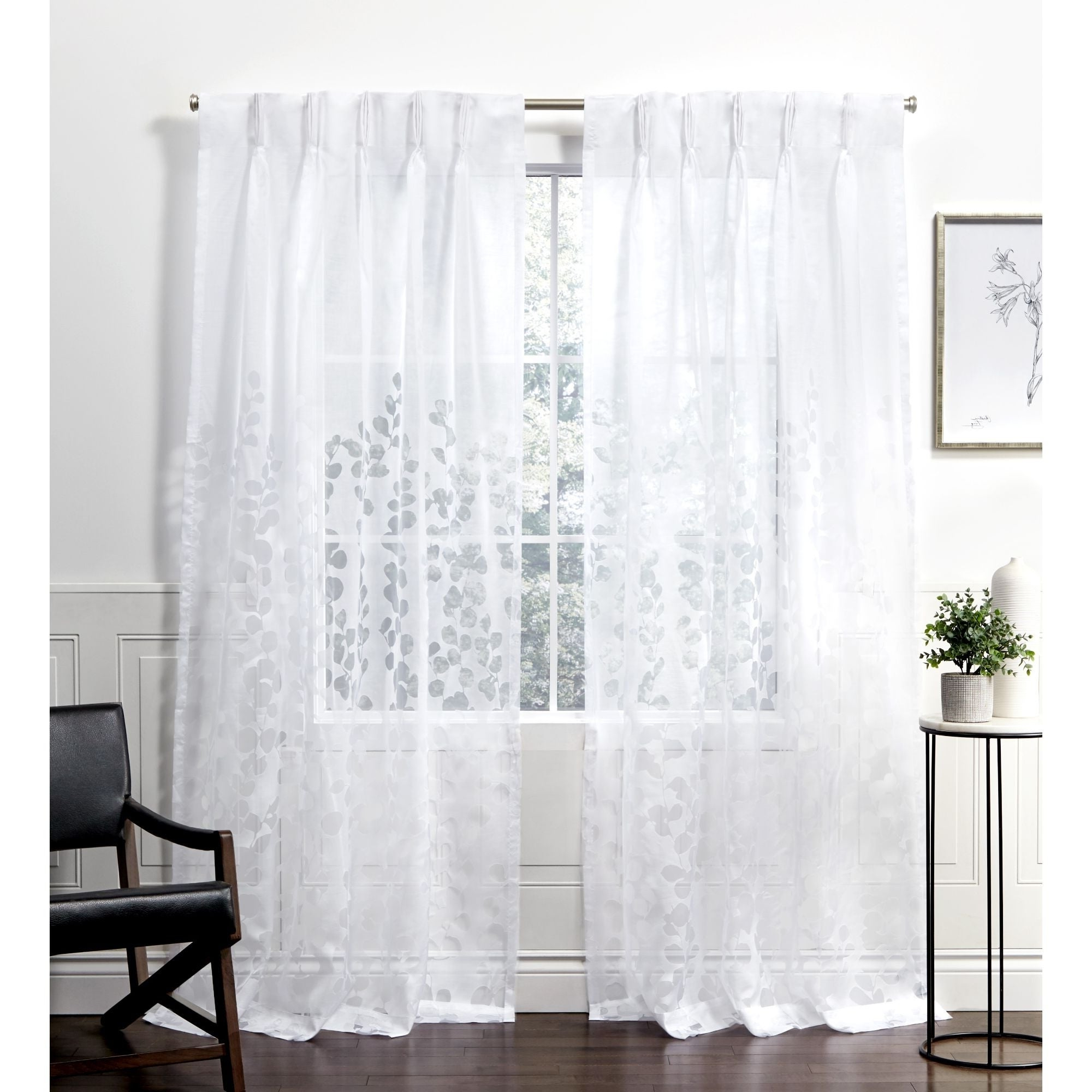 2020 Ati Home Wilshire Burnout Sheer Pinch Pleat Curtain Panel Pair Pertaining To Wilshire Burnout Grommet Top Curtain Panel Pairs (View 4 of 20)