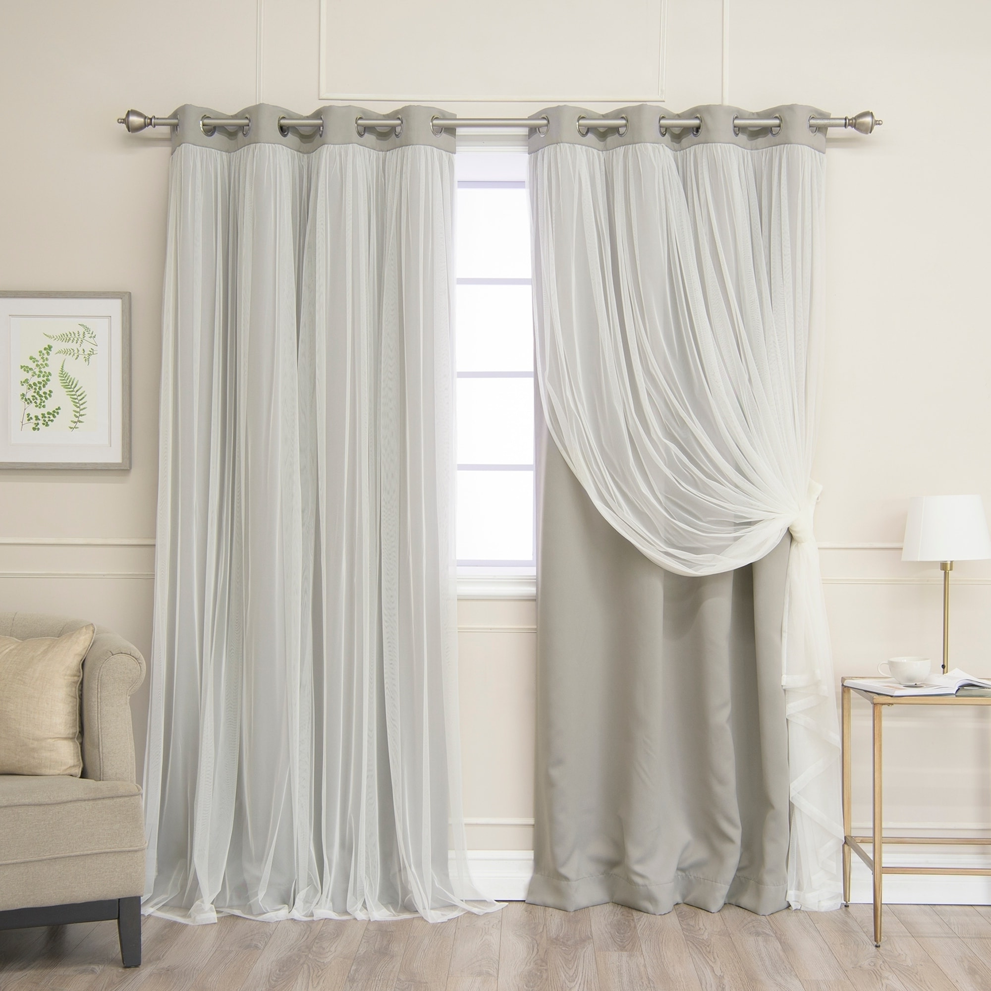 2020 Aurora Home Gathered Tulle Overlay Blackout Curtain Panel Pair Inside Star Punch Tulle Overlay Blackout Curtain Panel Pairs (View 20 of 20)