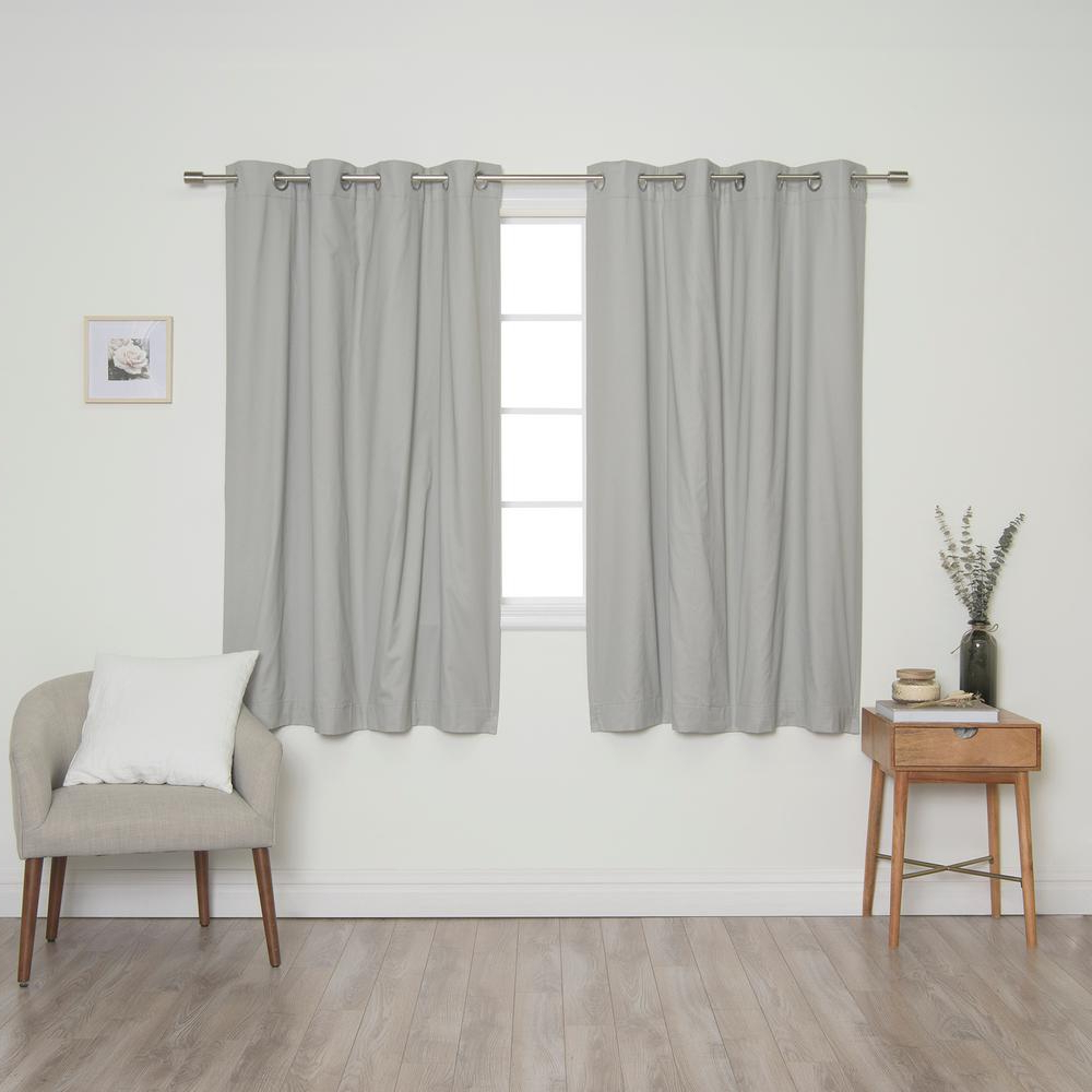 2020 Best Home Fashion Grey Solid Cotton Blackout Thermal Grommet Curtain Panel Set – 52 In. X 63 In (View 9 of 20)