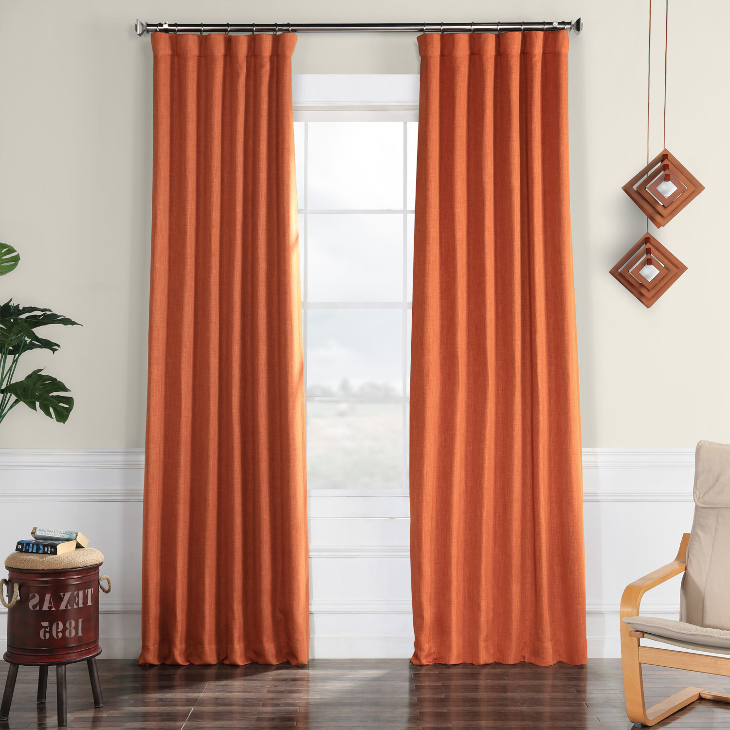 2020 Clem Faux Linen Blackout Single Curtain Panel Pertaining To Tuscan Thermal Backed Blackout Curtain Panel Pairs (View 7 of 20)