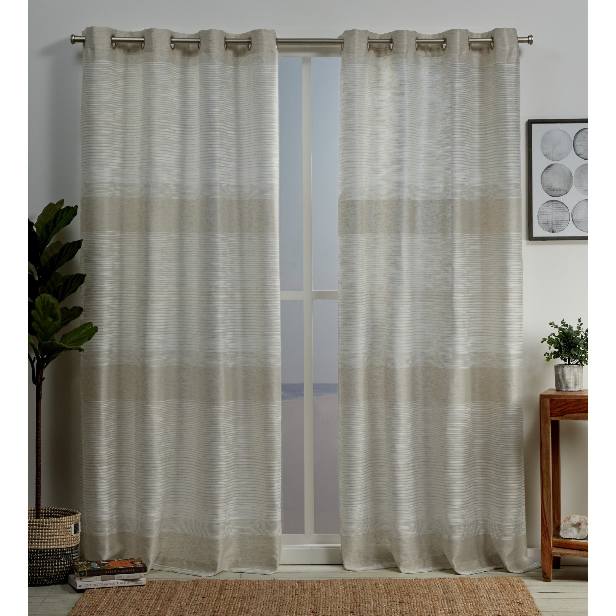 2020 Copper Grove Panagyurishte Striped Grommet Top Curtain Panel Pair Throughout Ombre Stripe Yarn Dyed Cotton Window Curtain Panel Pairs (View 1 of 20)