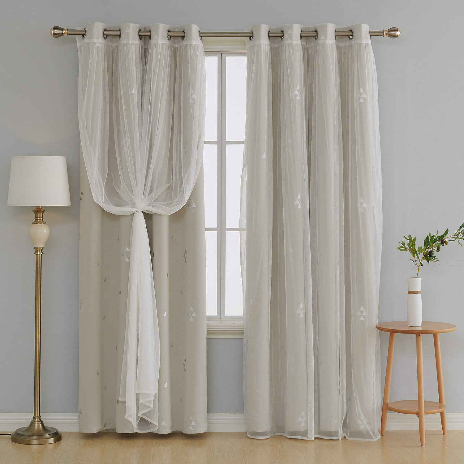 2020 Deconovo Mix And Match Curtain Triangle Printed Blackout Curtains Panels Cream And Tulle Lace White Sheer Curtains For Nursery With Grommet Top 4 Pertaining To Mix And Match Blackout Blackout Curtains Panel Sets (View 7 of 20)