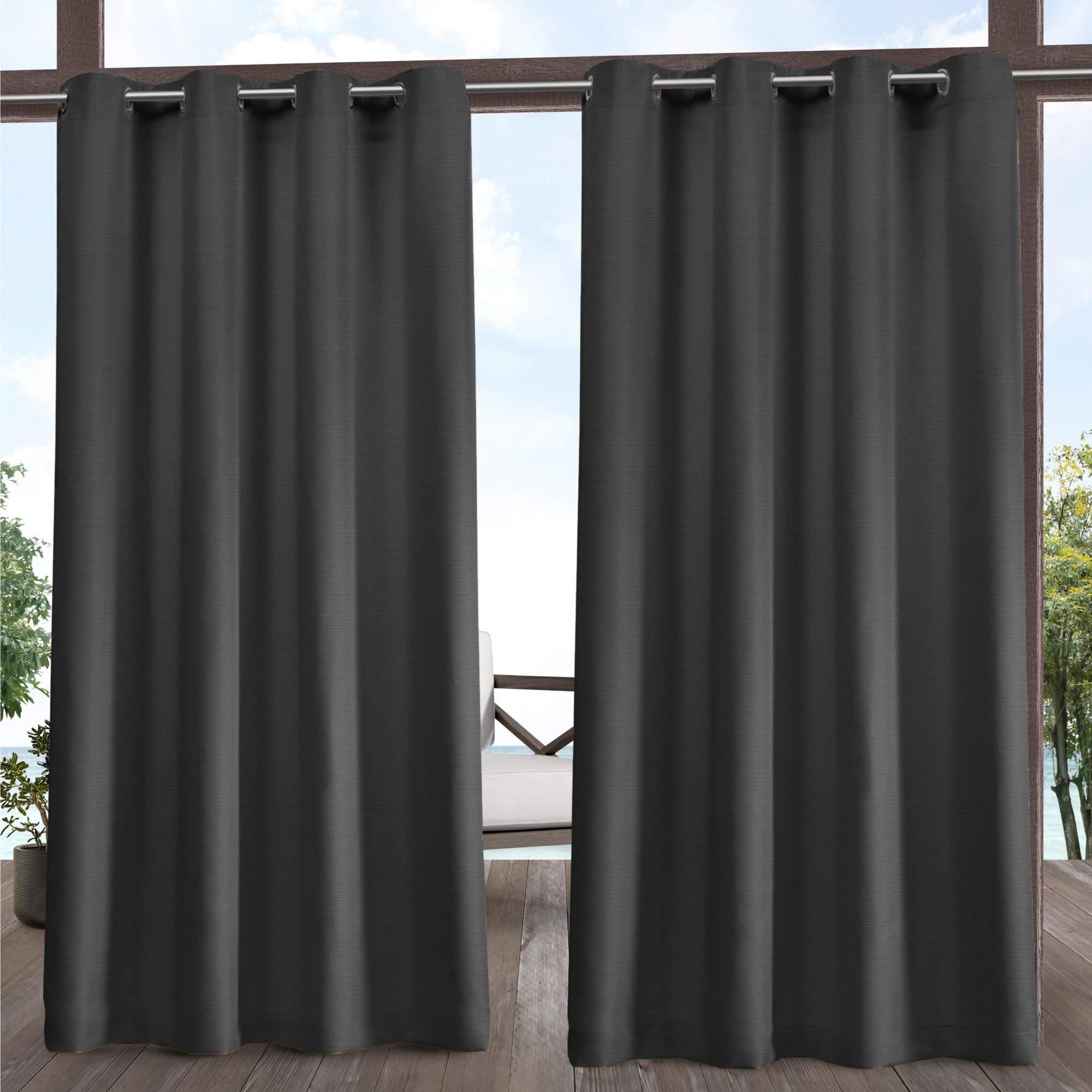2020 Delano Indoor/outdoor Grommet Top Curtain Panel Pairs Inside Exclusive Home Delano Indoor/outdoor Grommet Top Curtain Panel Pair (View 5 of 20)