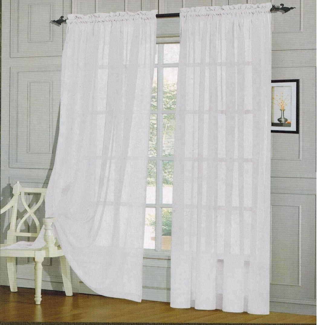 2020 Elegant Comfort Window Sheer Curtain Panel Pairs Throughout Elegant Comfort Voile84 Window Curtains Sheer Panel With 2 Inch Rod Pocket, 60 Width X 84 Inch Length – White (View 4 of 20)