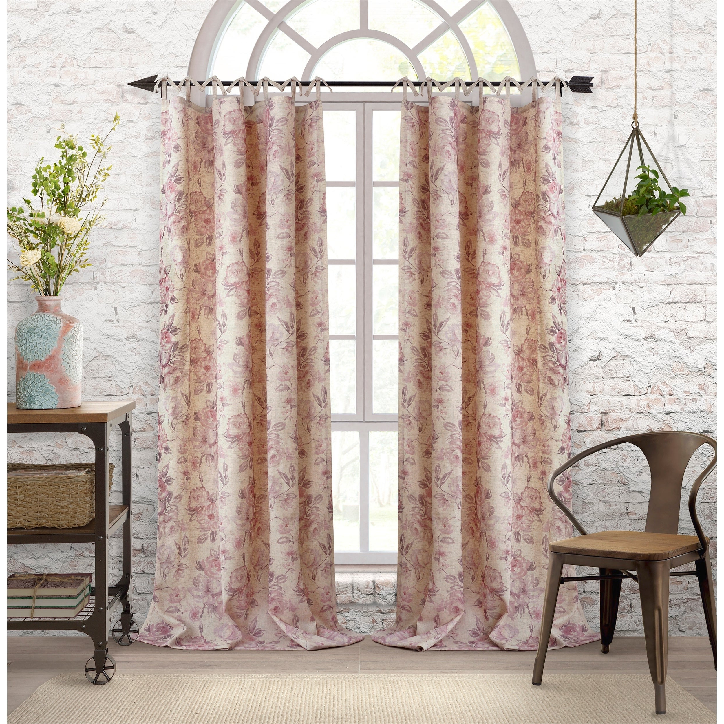 2020 Elrene Jolie Tie Top Curtain Panels With Elrene Annalise Floral Linen Tie Top Window Curtain (View 10 of 20)