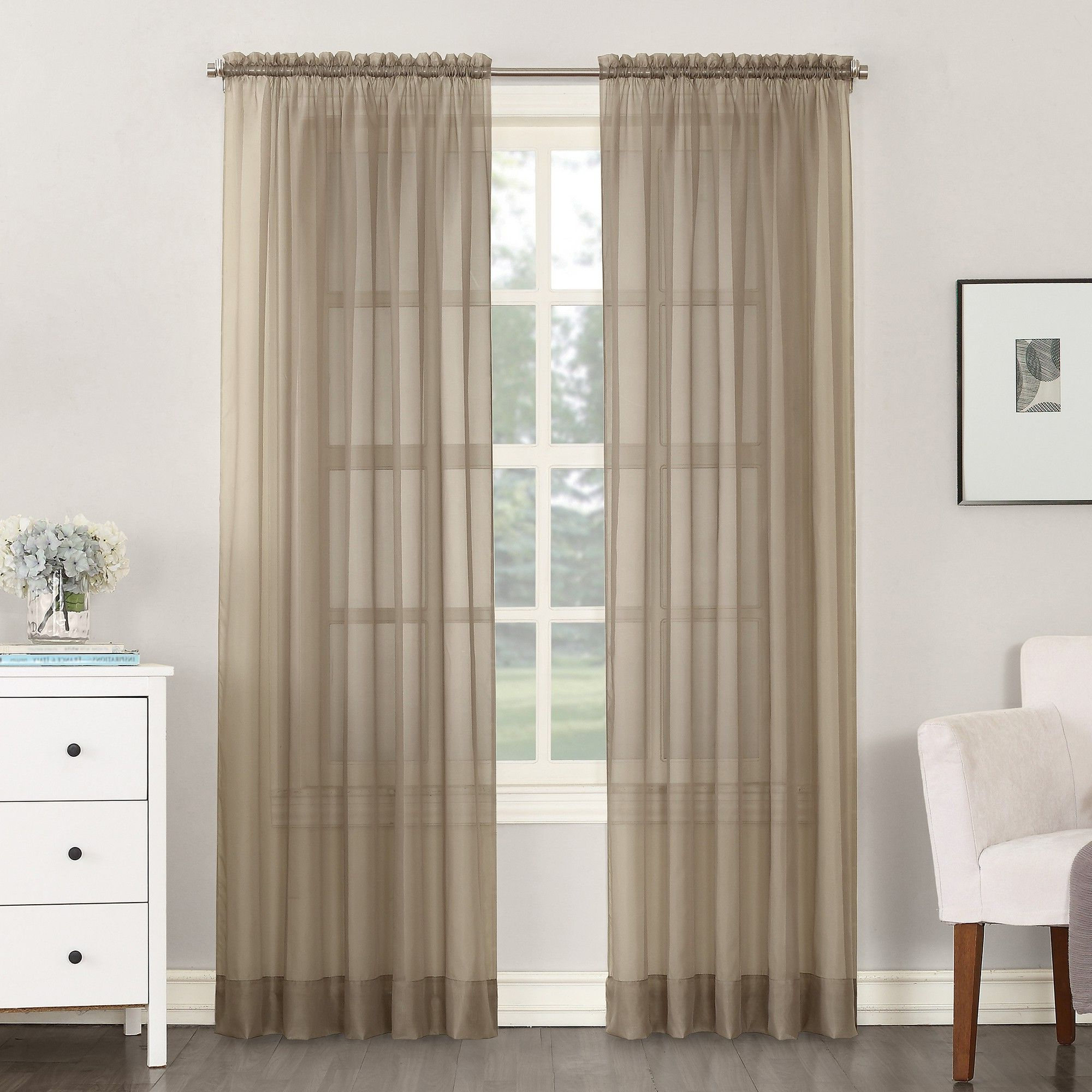 """2020 Emily Sheer Voile Solid Single Patio Door Curtain Panels Regarding Emily Sheer Voile Rod Pocket Curtain Panel Taupe 59""""x (View 6 of 20)"""