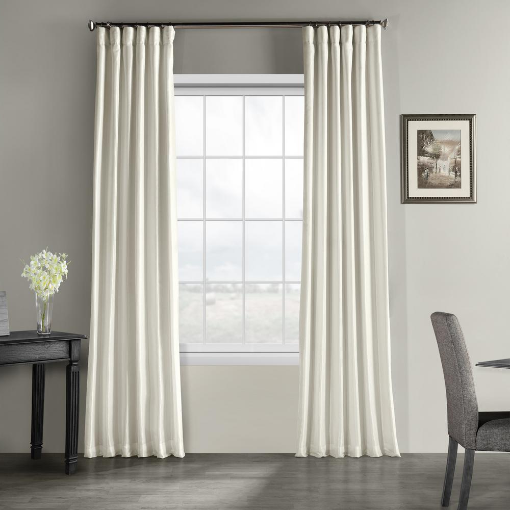 2020 Exclusive Fabrics & Furnishings Off White Vintage Textured Faux Dupioni  Silk Light Filtering Curtain – 50 In. W X 84 In (View 1 of 20)
