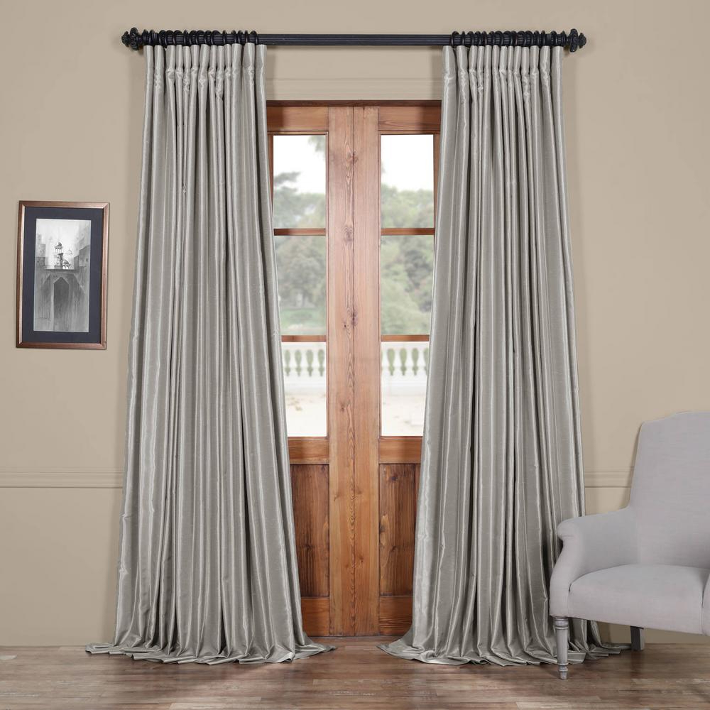 2020 Exclusive Fabrics & Furnishings Silver Blackout Extra Wide Vintage Textured  Faux Dupioni Curtain – 100 In. W X 108 In (View 1 of 20)