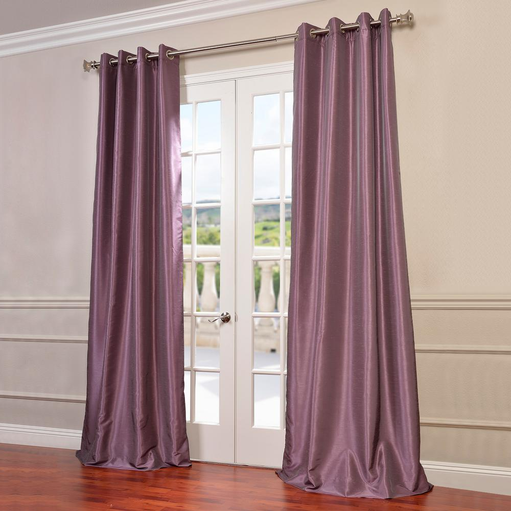 2020 Exclusive Fabrics & Furnishings Smokey Plum Purple Grommet Blackout Vintage Textured Faux Dupioni Silk Curtain – 50 In. W X 84 In (View 1 of 20)