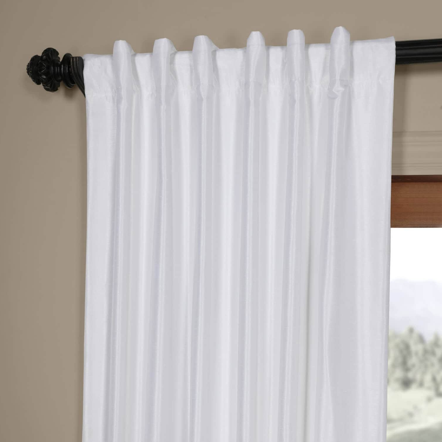 2020 Exclusive Fabrics Ice White Vintage Faux Textured Dupioni Silk 108L Curtain  Panel For Off White Vintage Faux Textured Silk Curtains (View 2 of 20)