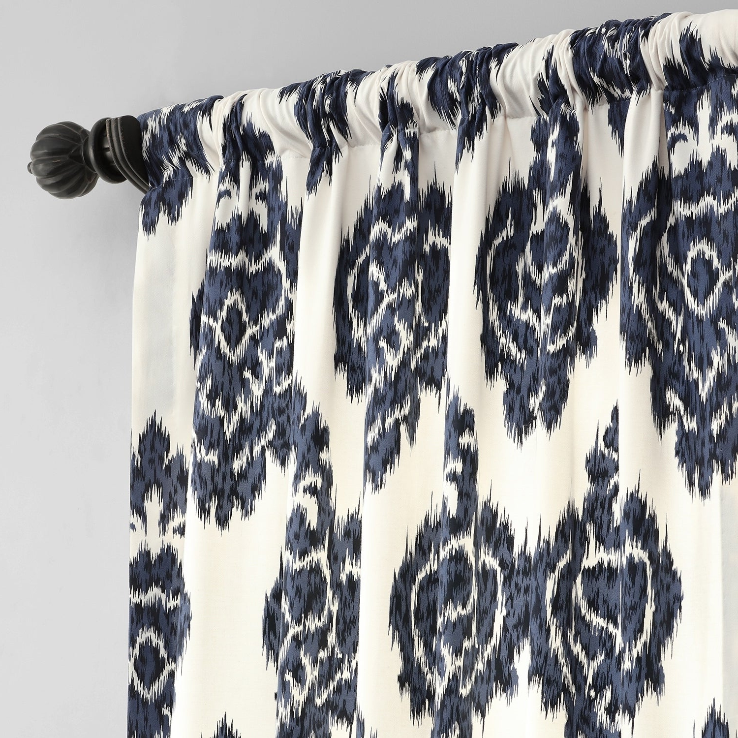 2020 Exclusive Fabrics Ikat Blue Printed Cotton Curtain Panel For Ikat Blue Printed Cotton Curtain Panels (View 3 of 20)
