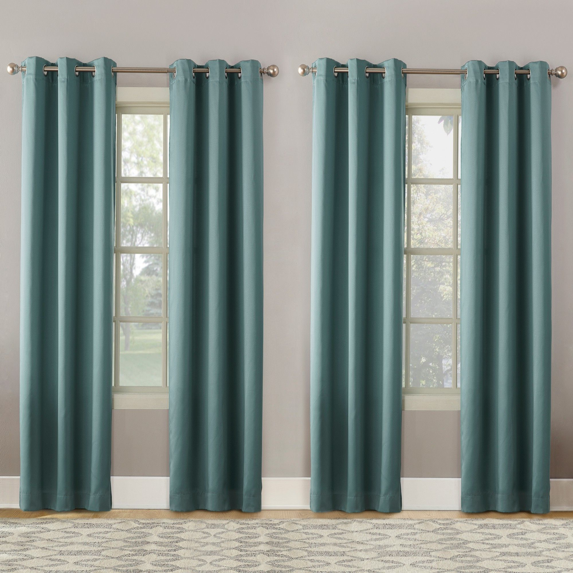 2020 Geometric Print Textured Thermal Insulated Grommet Curtain Panels Within Clarke Geometric Print Textured Thermal Insulated Grommet (View 5 of 20)
