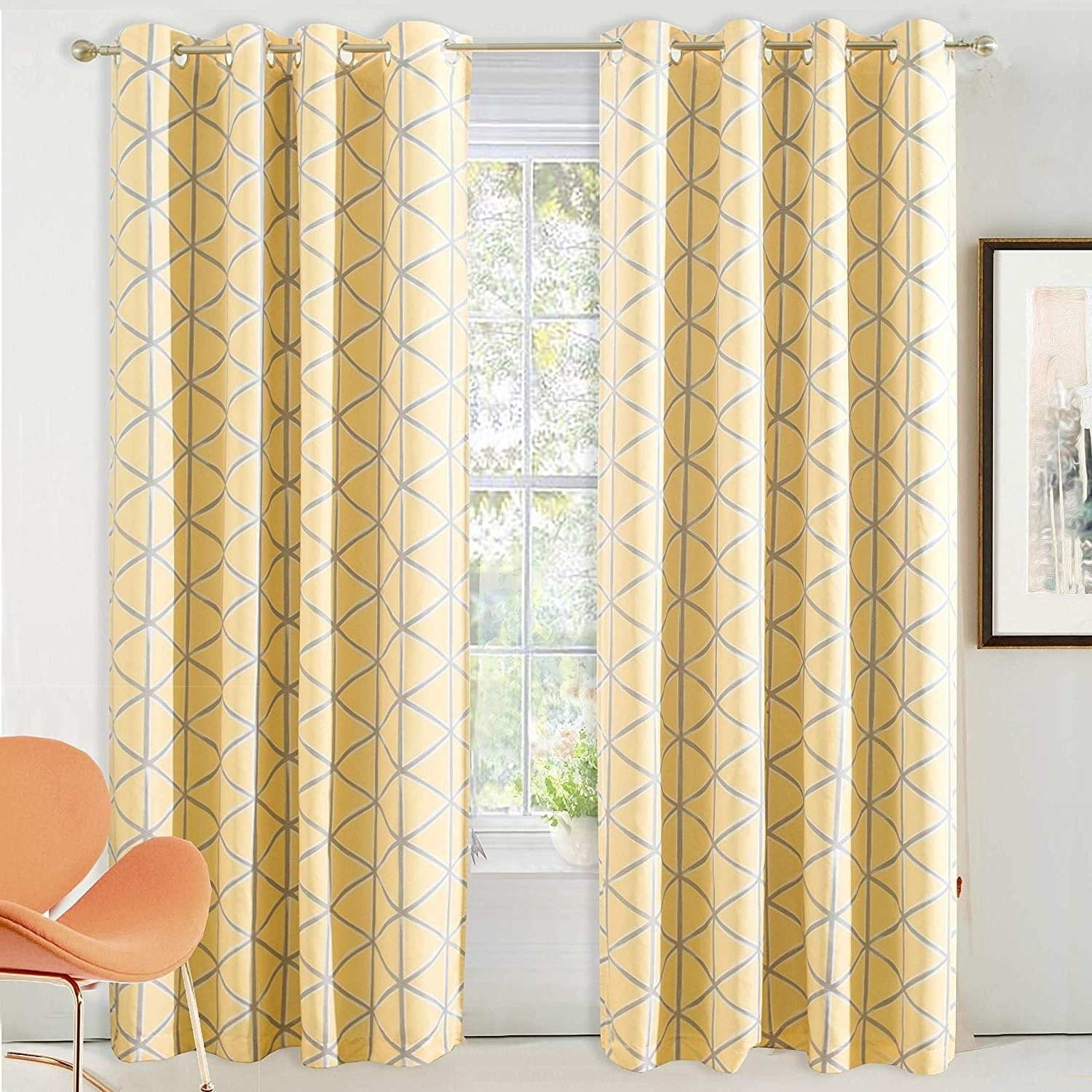2020 Gracewood Hollow Tucakovic Energy Efficient Fabric Blackout Curtains With Driftaway Raymond Geometric Pattern Lined Blackout Window Curtain Panel Pair (View 13 of 20)