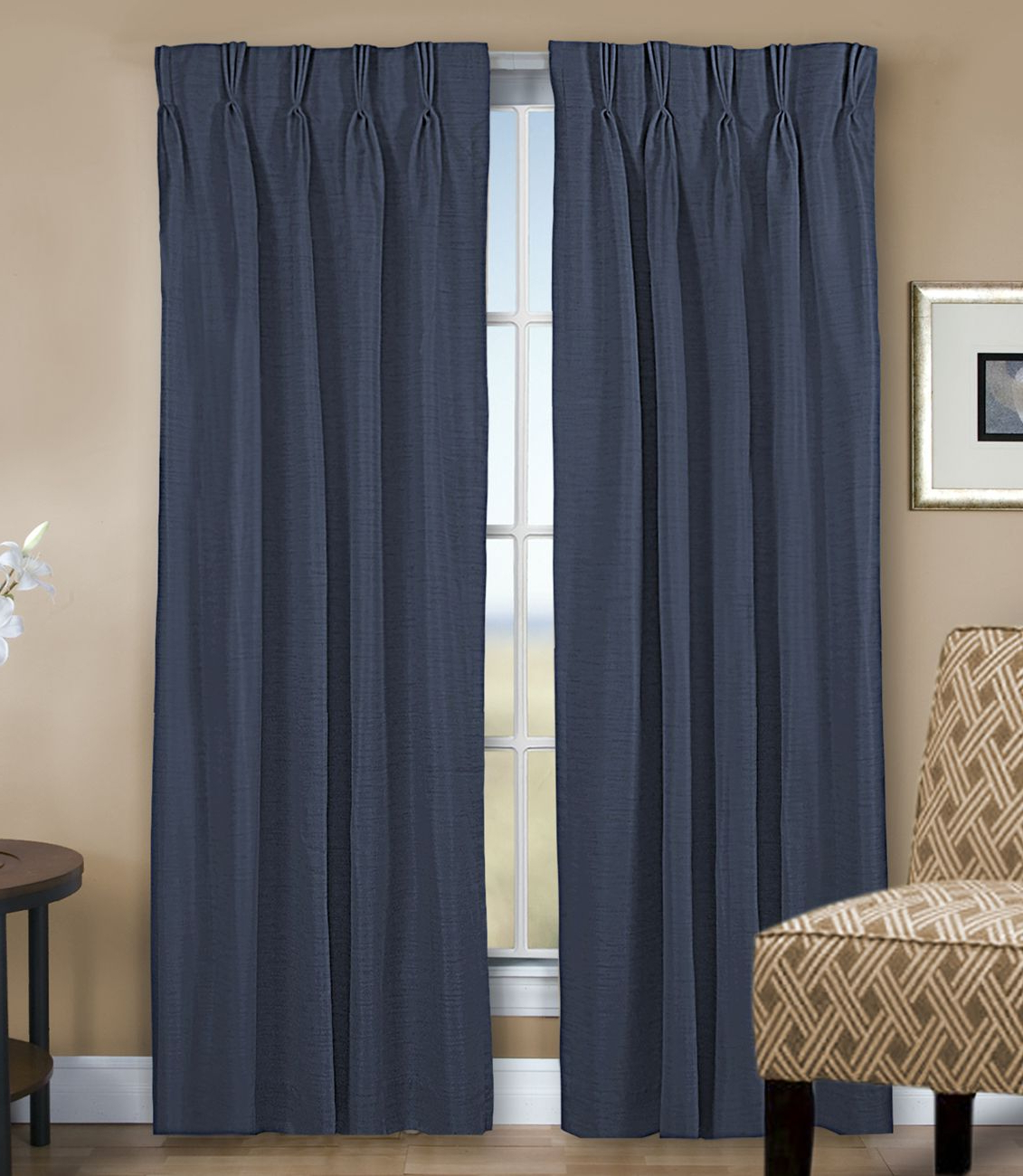 2020 Grasscloth Lined Pinch Pleated (Dual Header) Drapery Pair Regarding Double Pinch Pleat Top Curtain Panel Pairs (View 2 of 20)