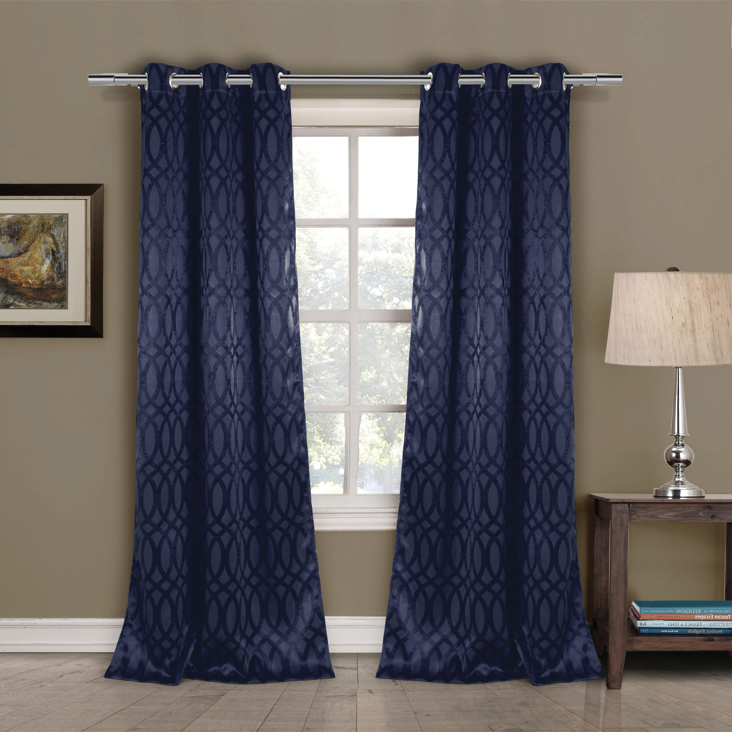 2020 House Of Hampton Mooneyham Geometric Blackout Grommet Within Tuscan Thermal Backed Blackout Curtain Panel Pairs (View 9 of 20)