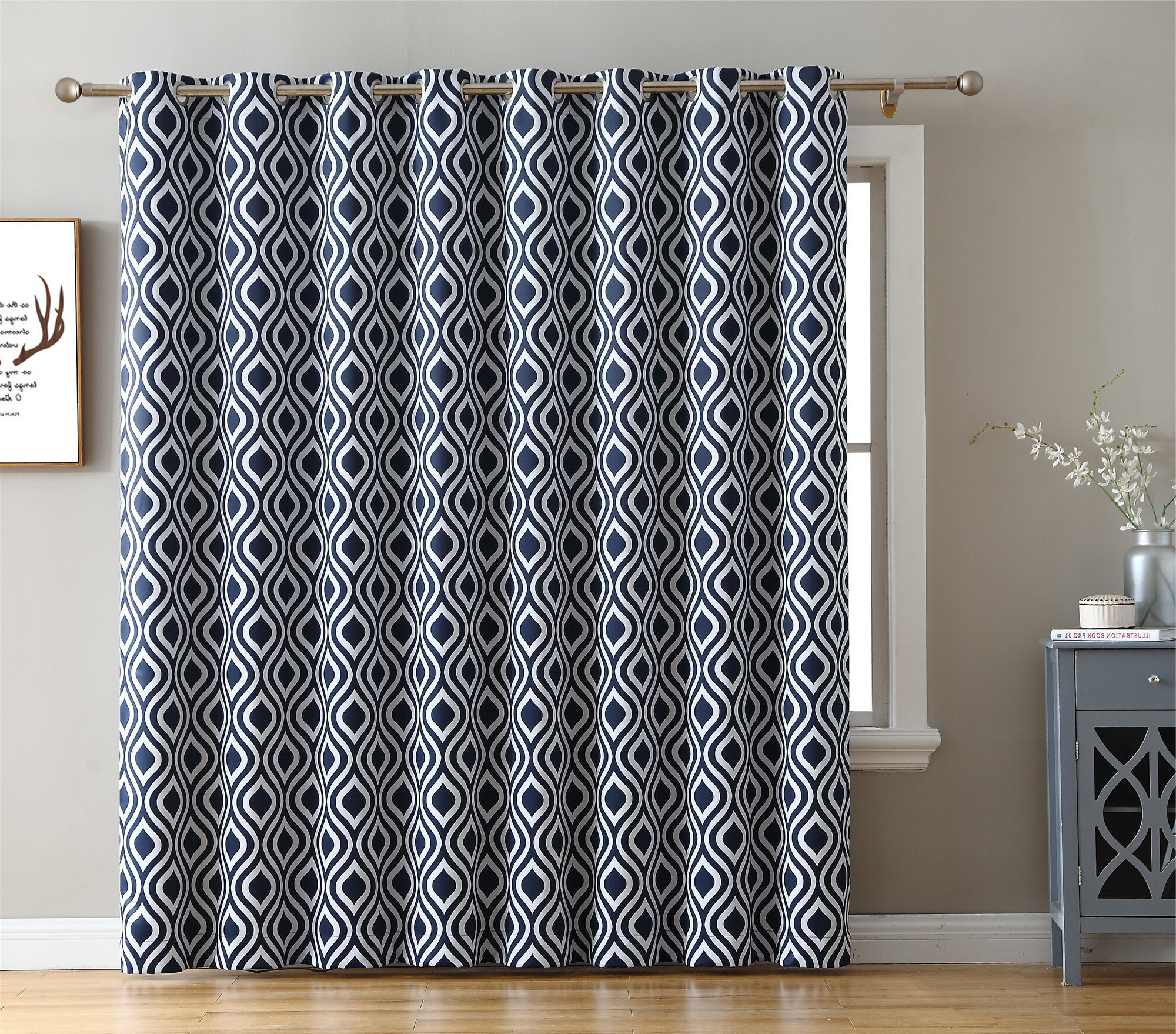2020 Insulated Cotton Curtain Panel Pairs With Regard To Valarie Geometric Blackout Thermal Grommet Single Curtain Panel (View 20 of 20)