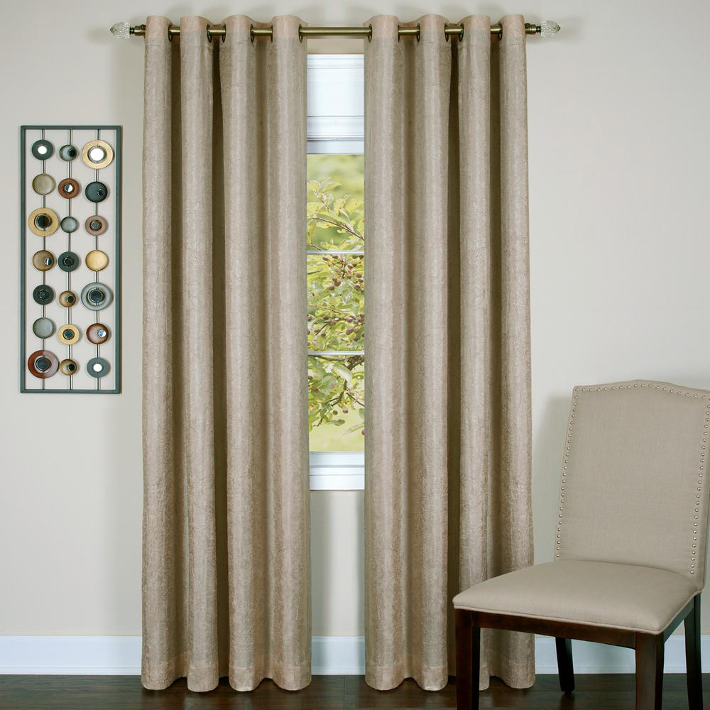 2020 Lined Grommet Curtain Panels Pertaining To Achim Taylor Tan Polyester Lined Grommet Panel – 50 In. W X 84 In (View 5 of 20)