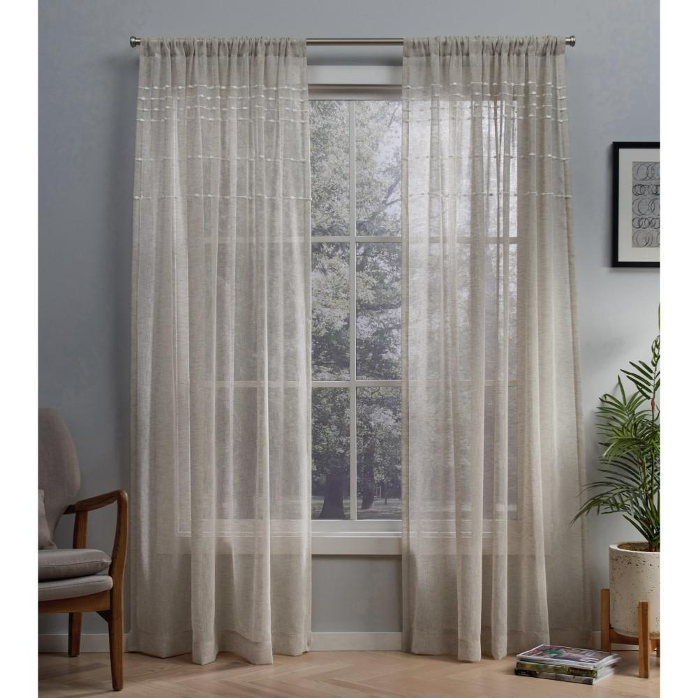 2020 Linen Button Window Curtains Single Panel Regarding Davos 54 In. W X 96 In (View 9 of 20)