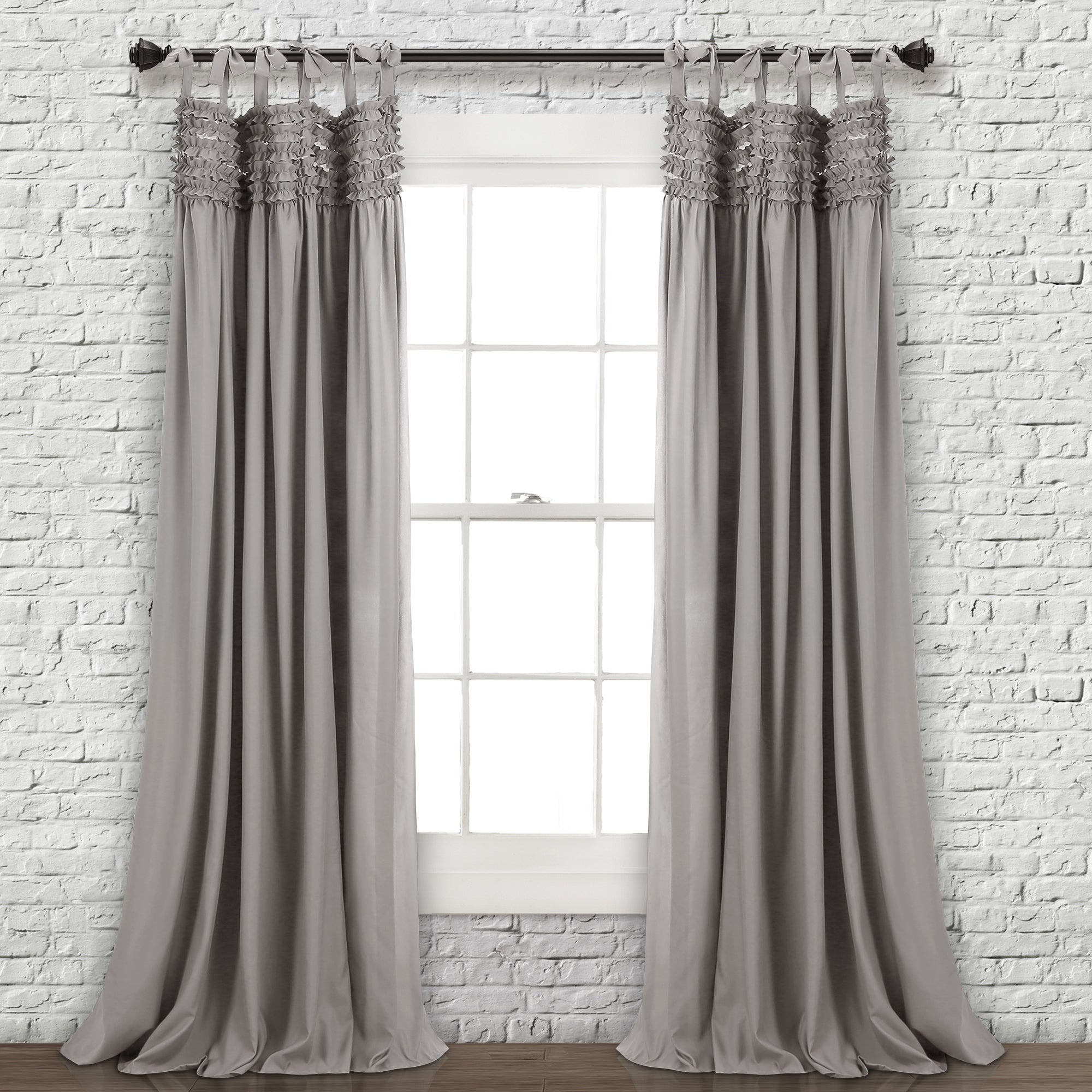 2020 Lush Decor Lydia Ruffle Window Curtain Panel Pair Intended For Lydia Ruffle Window Curtain Panel Pairs (View 2 of 20)