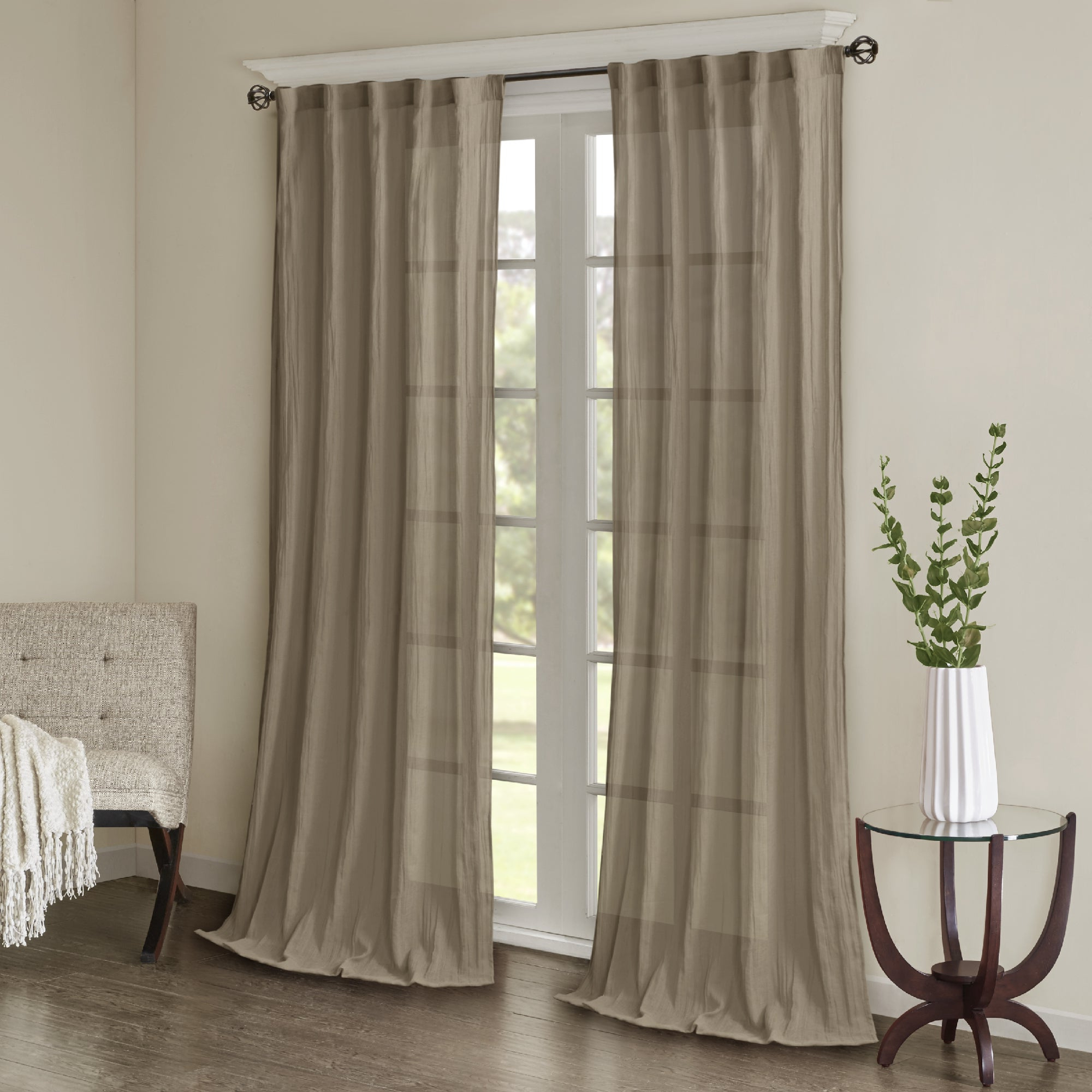2020 Madison Park Kaylee Solid Crushed Sheer Window Curtain Pair With Kaylee Solid Crushed Sheer Window Curtain Pairs (View 3 of 20)