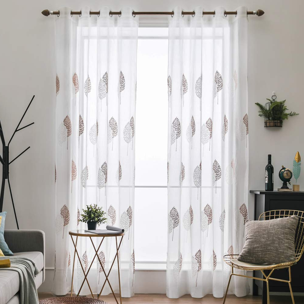 """2020 Miulee 2 Panels Leaves Embroidery Sheer Curtains Grommet Window Curtain  Semi Voile Drapes Panels For Living Room Bedroom 54"""" W X 84"""" L In Wavy Leaves Embroidered Sheer Extra Wide Grommet Curtain Panels (View 11 of 20)"""