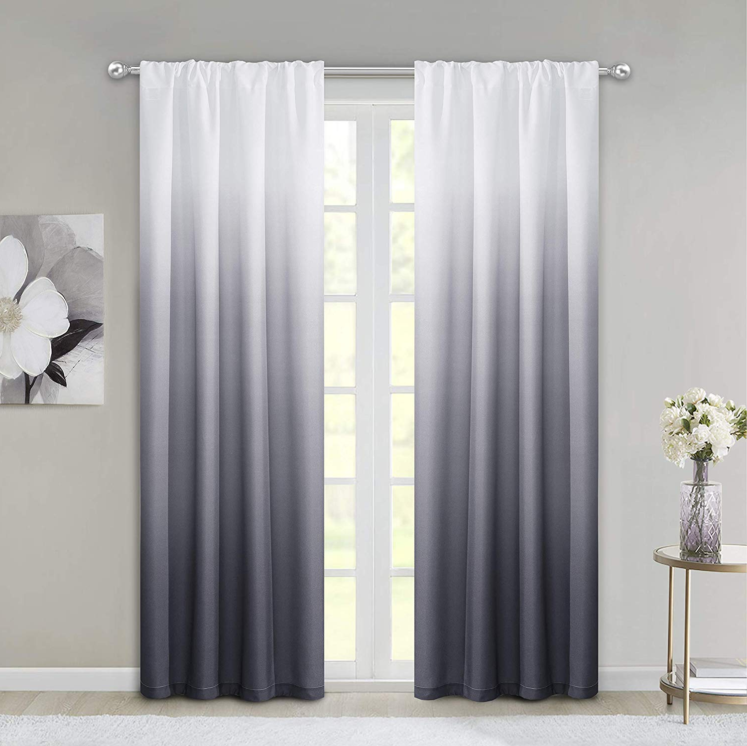 "2020 Ombre Embroidery Curtain Panels With Dainty Home Ombre Woven Shades Of Color Rod Pocket Curtain Panel Pair  Complete Set Of 2, 40"" Wide X 84"" Long Each, Gradient White To Black (View 1 of 20)"