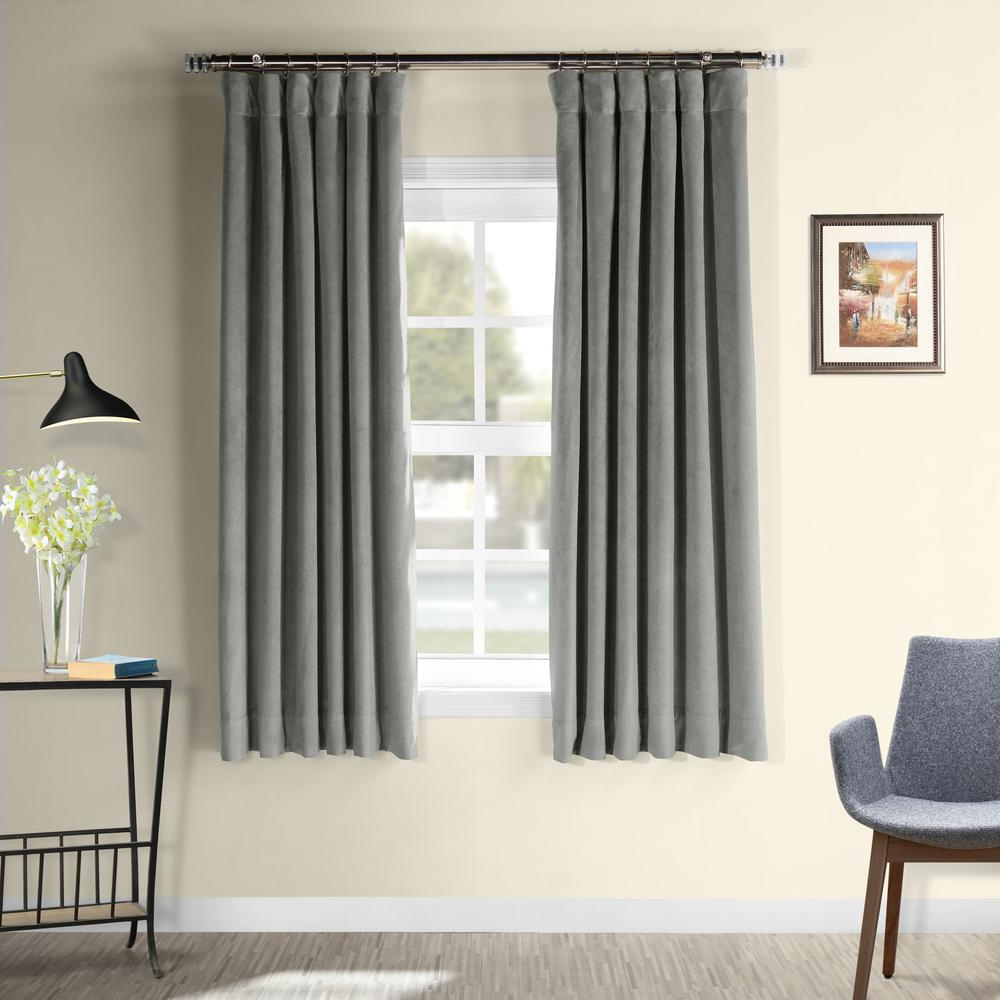 2020 Signature Blackout Velvet Curtains In Exclusive Fabrics & Furnishings Signature Silver Grey Blackout Velvet Curtain – 50 In. W X 63 In (View 20 of 20)