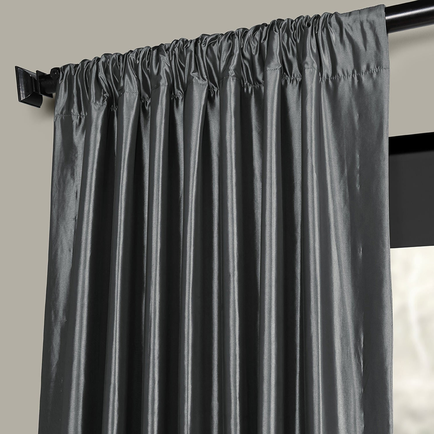 2020 Solid Faux Silk Taffeta Graphite Single Curtain Panels Within Exclusive Fabrics Solid Faux Silk Taffeta Graphite Single Curtain Panel (View 3 of 20)
