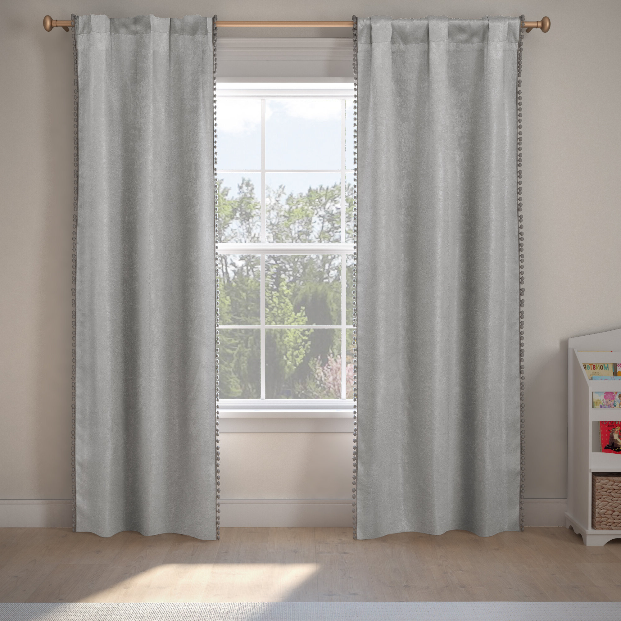 2020 Thermal Rod Pocket Blackout Curtain Panel Pairs Pertaining To Albrecht Pom Poms Solid Blackout Thermal Rod Pocket Panel Pair (View 1 of 20)