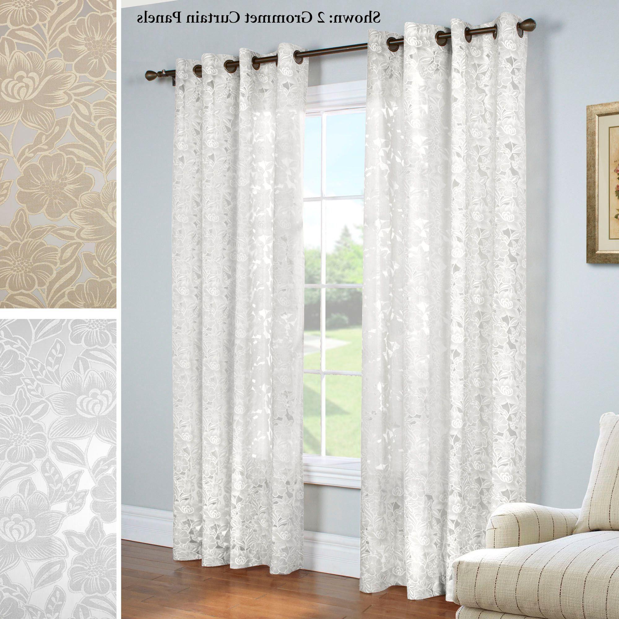 2020 Vina Sheer Bird Single Curtain Panels Within Carlotta Faux Burnout Semi Sheer Grommet Curtain Panel In (View 15 of 20)