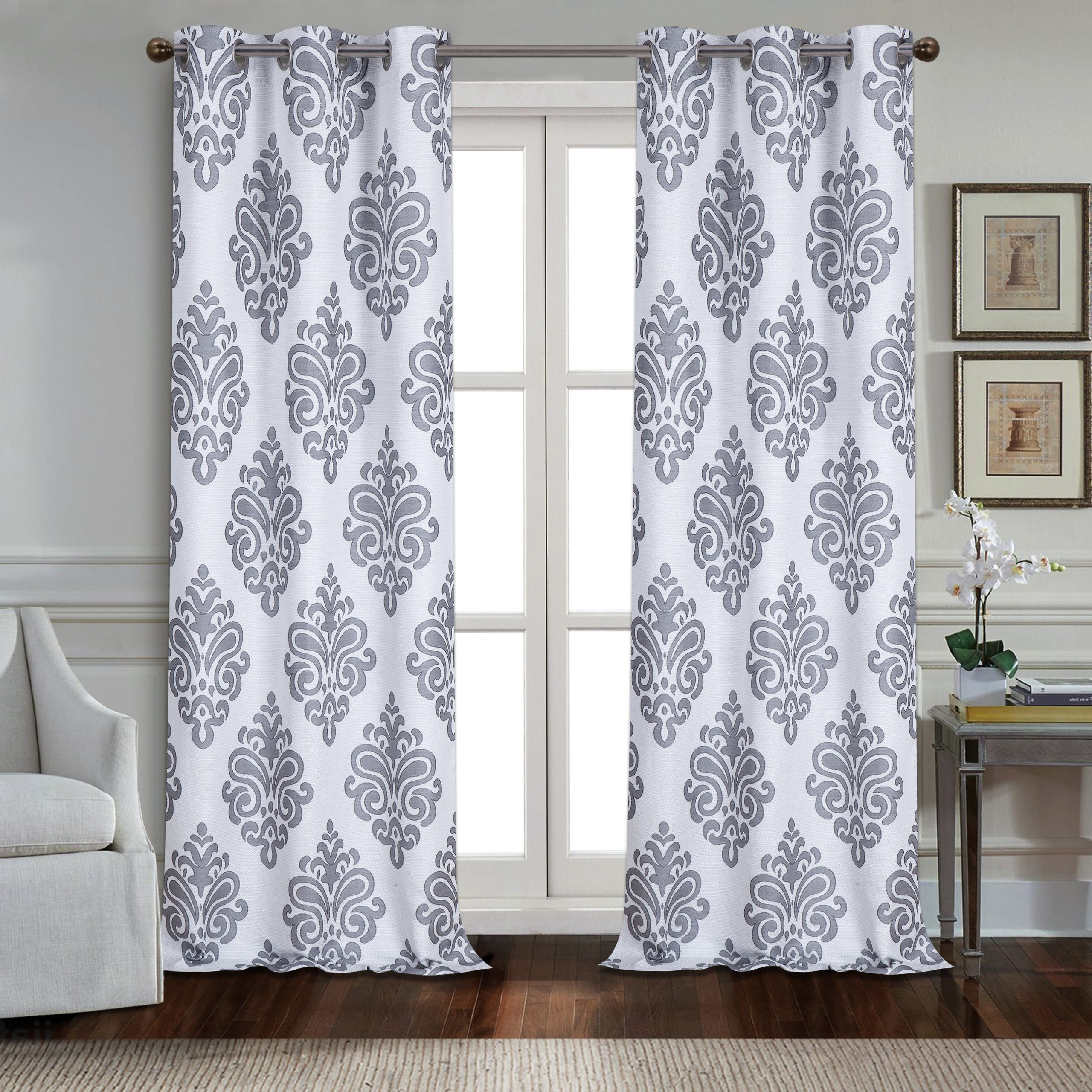 2021 Andorra Watercolor Floral Textured Sheer Single Curtain Panels With Regard To Cahawba Textured Appliqué Damask Room Darkening Grommet Panel Pair (View 17 of 20)