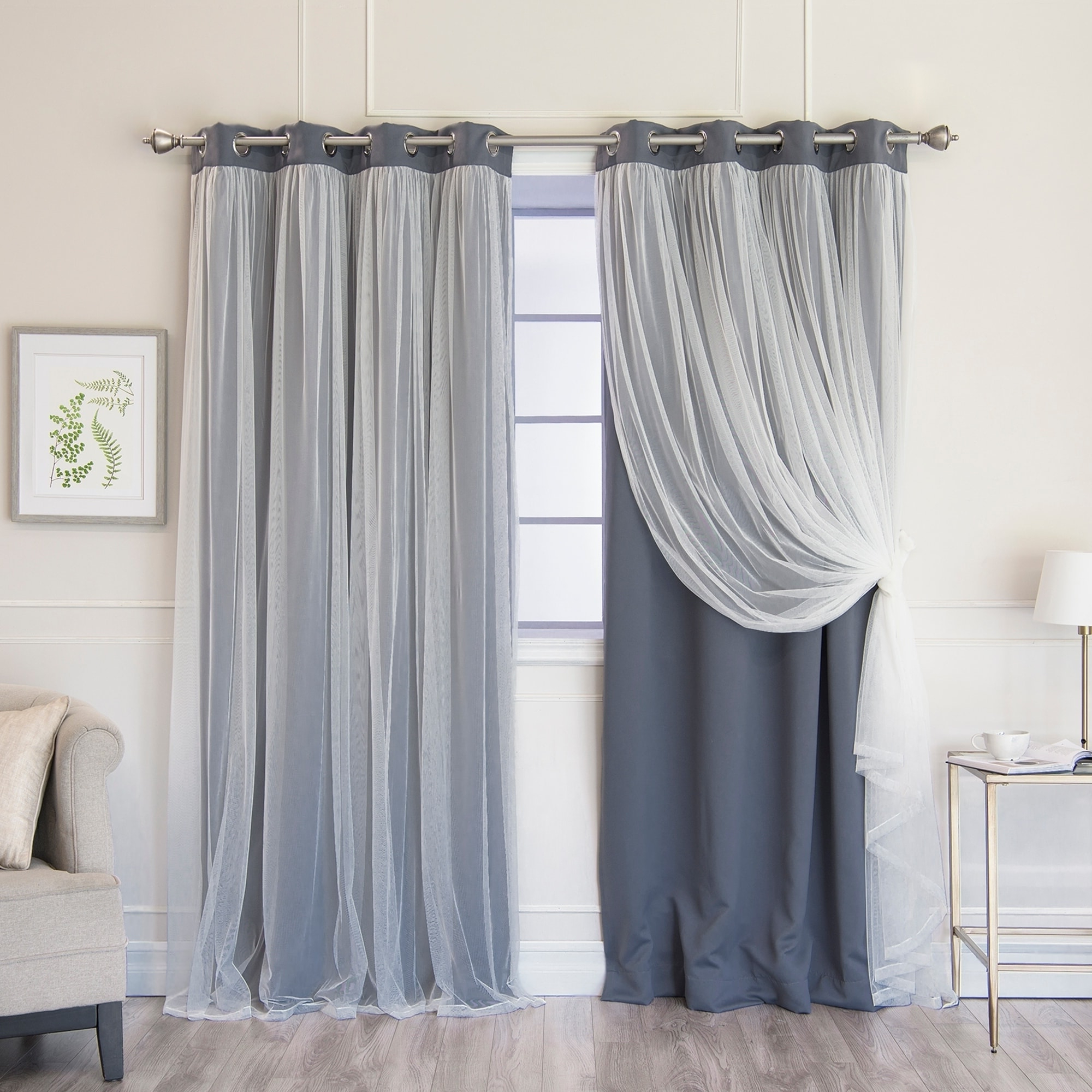 2021 Aurora Home Gathered Tulle Overlay Blackout Curtain Panel Pair In Star Punch Tulle Overlay Blackout Curtain Panel Pairs (View 13 of 20)
