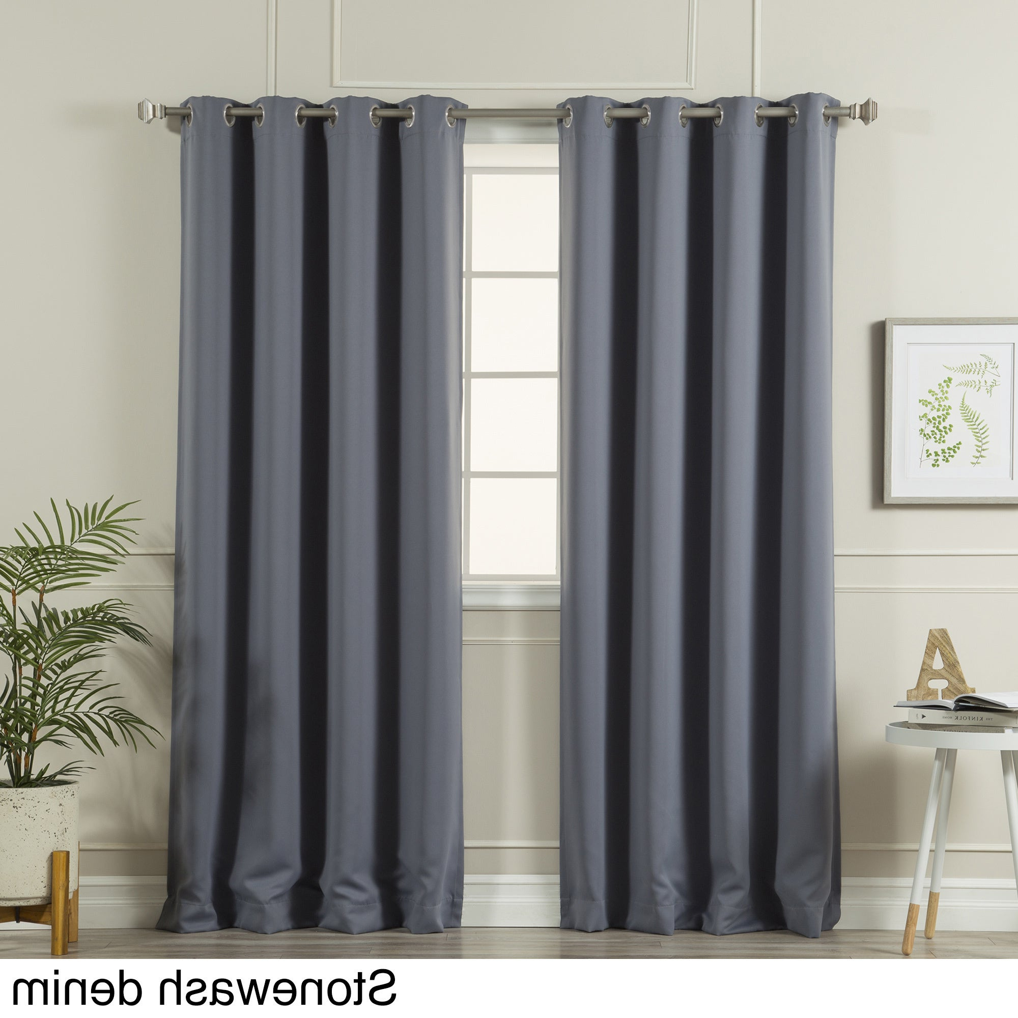 2021 Aurora Home Silvertone Grommet Top Thermal Insulated Blackout Curtain Panel Pair Inside Silvertone Grommet Thermal Insulated Blackout Curtain Panel Pairs (View 8 of 20)