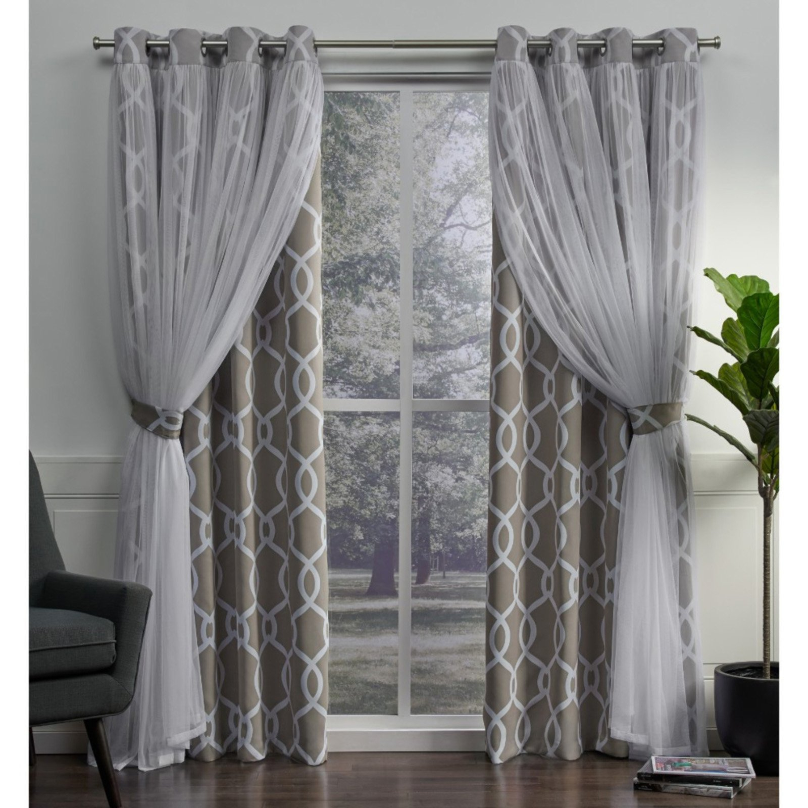 2021 Bethany Sheer Overlay Blackout Window Curtains Intended For Exclusive Home Carmela Layered Geometric Blackout And Sheer (View 17 of 20)