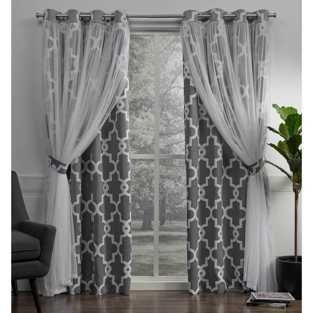 2021 Bethany Sheer Overlay Blackout Window Curtains Throughout Alegra 52 In. W X 84 In (View 9 of 20)