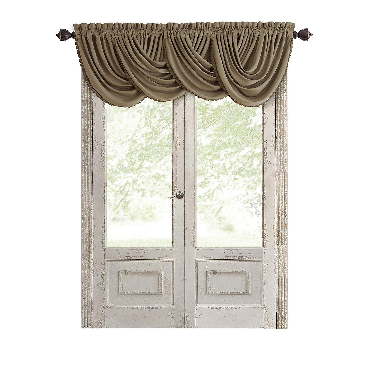 """2021 Elrene Home Fashions All Seasons Energy Efficient Room Darkening Rod Pocket  Window Panel, 52"""" X 36"""" (1 Valance), Gold For All Seasons Blackout Window Curtains (View 3 of 20)"""