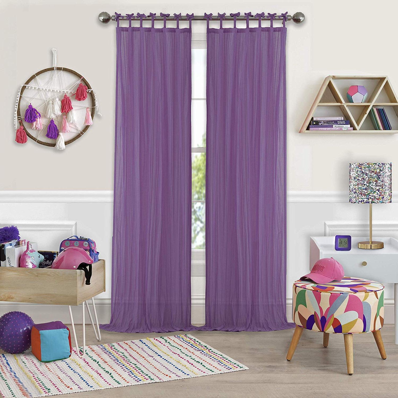 "2021 Elrene Jolie Tie Top Curtain Panels With Regard To Elrene Home Fashions Greta Juvenile Teen Or Tween Tab Top Sheer Single Window Panel Curtain Drape 50"" X 63"" Purple (View 18 of 20)"