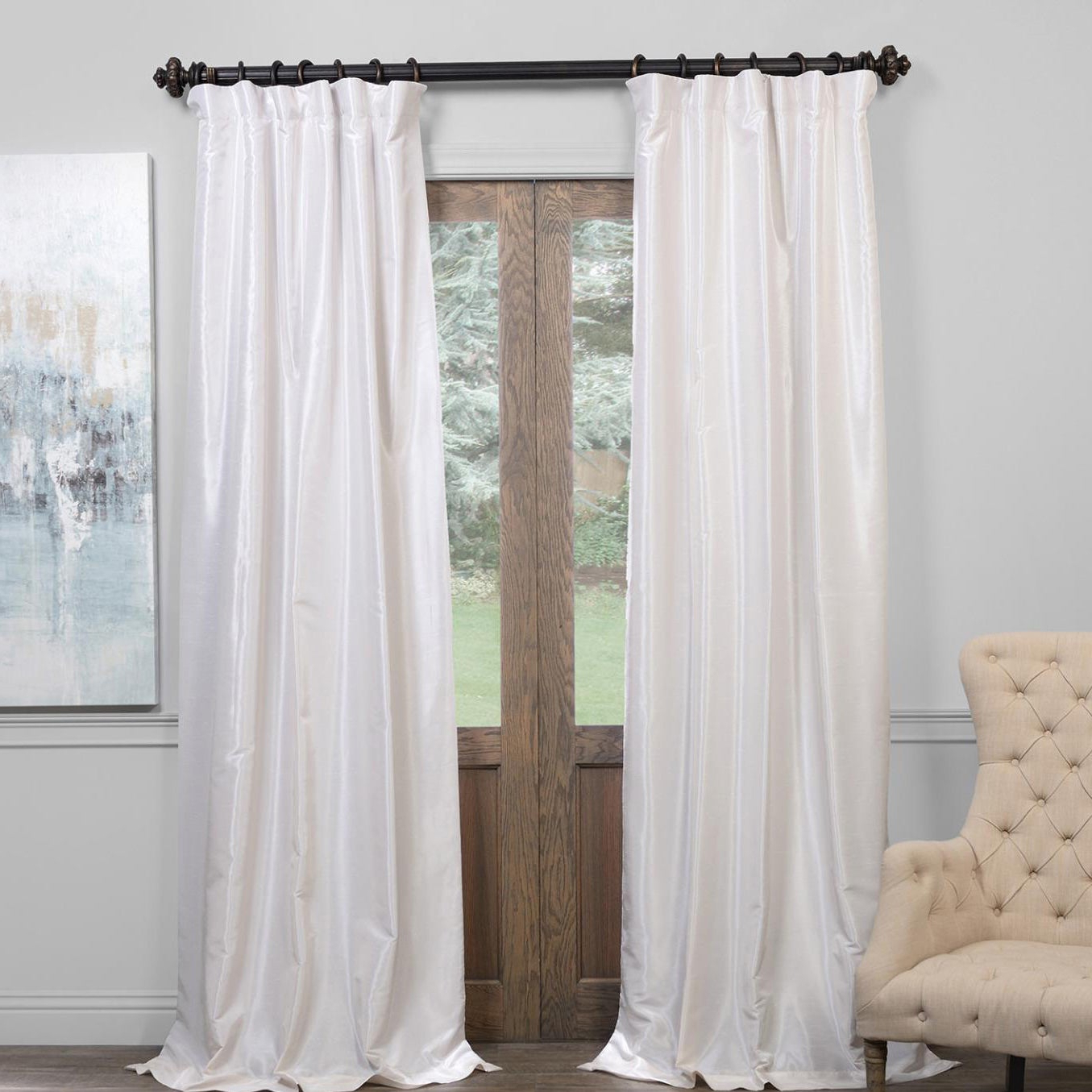 "2021 Exclusive Fabrics True Blackout Vintage Textured Faux Dupioni Silk Curtain Panel In 108""l In Off White (as Is) Regarding Vintage Faux Textured Dupioni Silk Curtain Panels (View 15 of 20)"