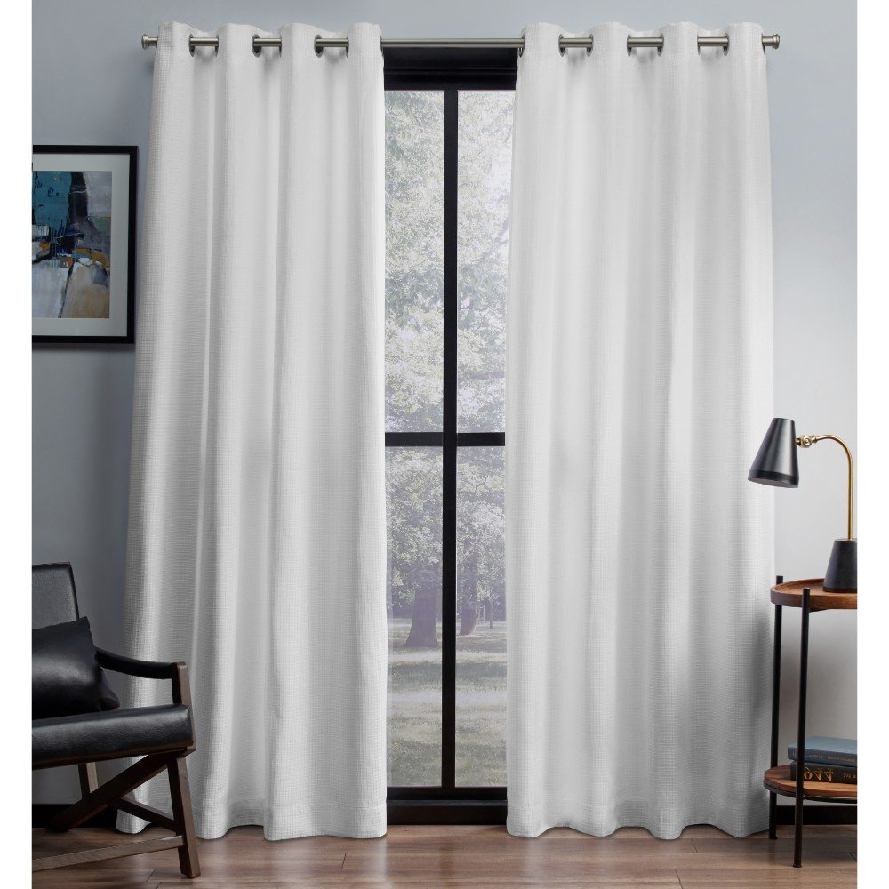 2021 Exclusive Home Curtains Eglinton Woven Blackout Window Curtain Panel Pair With Grommet Top, 52x84, Winter White, 2 Piece Pertaining To Woven Blackout Grommet Top Curtain Panel Pairs (View 7 of 20)