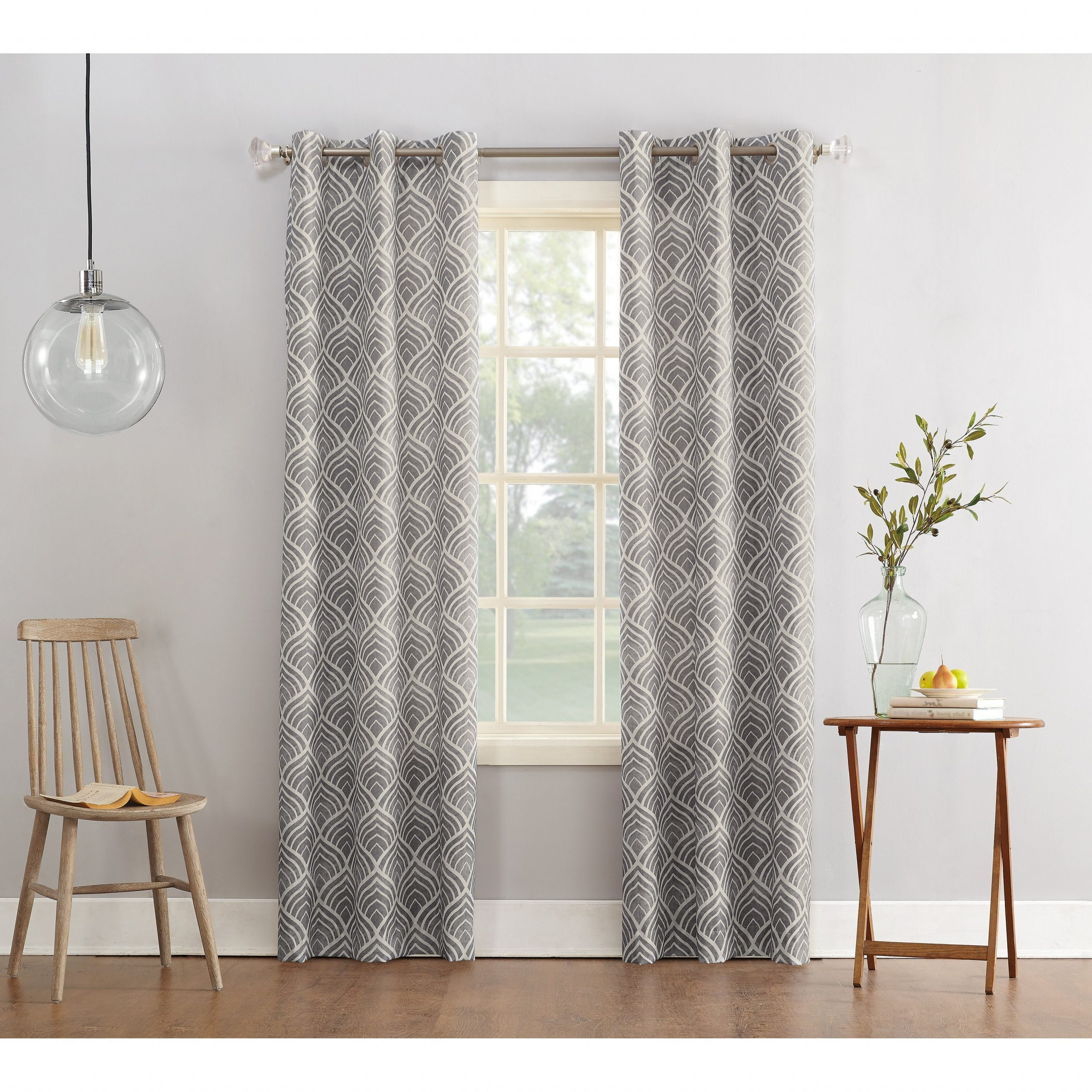 2021 Geometric Print Textured Thermal Insulated Grommet Curtain Panels For Sun Zero Clarke Geometric Print Textured Thermal Insulated Grommet Curtain Panel (View 2 of 20)