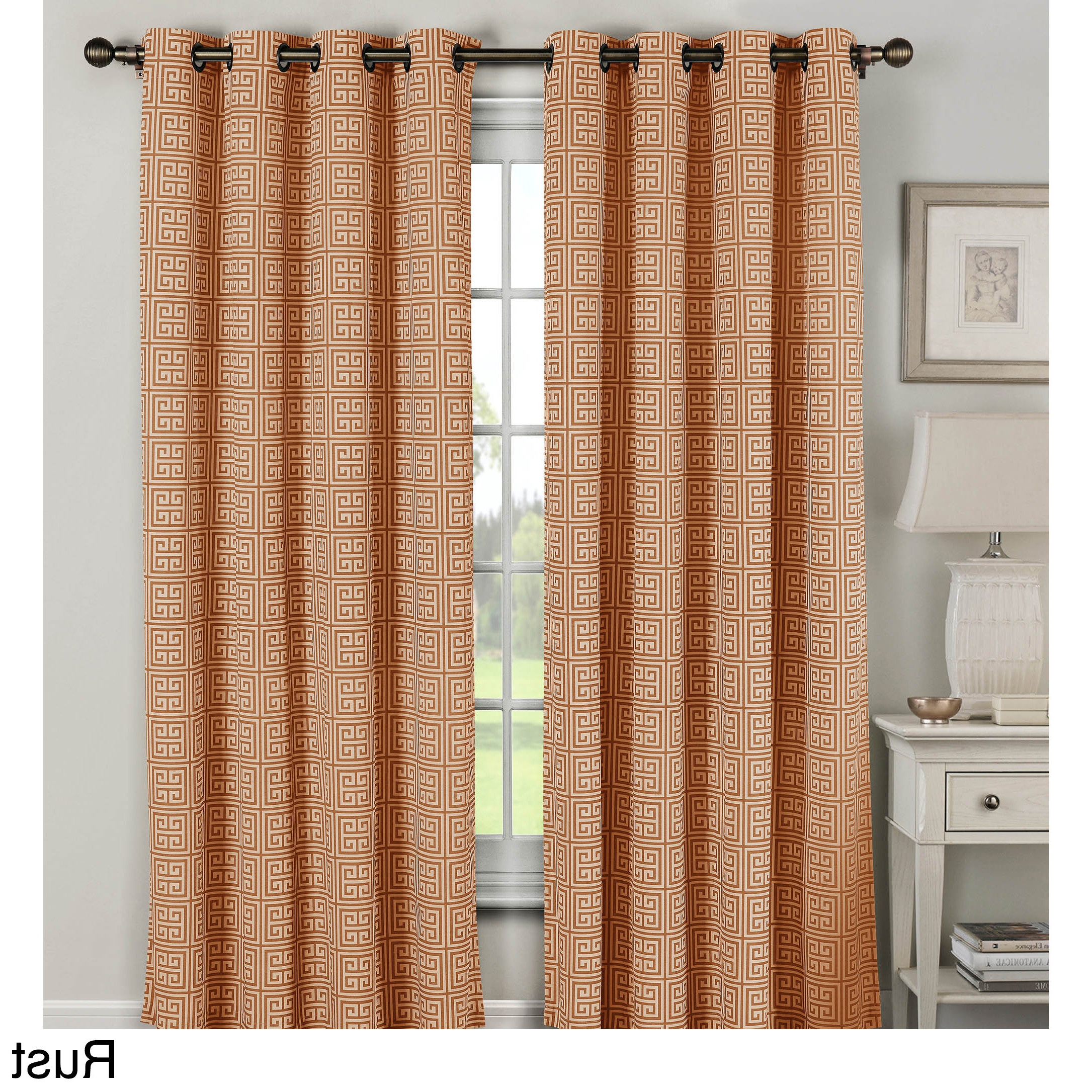 2021 Grommet Curtain Panels Pertaining To Window Elements Greek Key 96 Inch Extra Wide Grommet Curtain Panel Pair – 54 X (View 16 of 20)