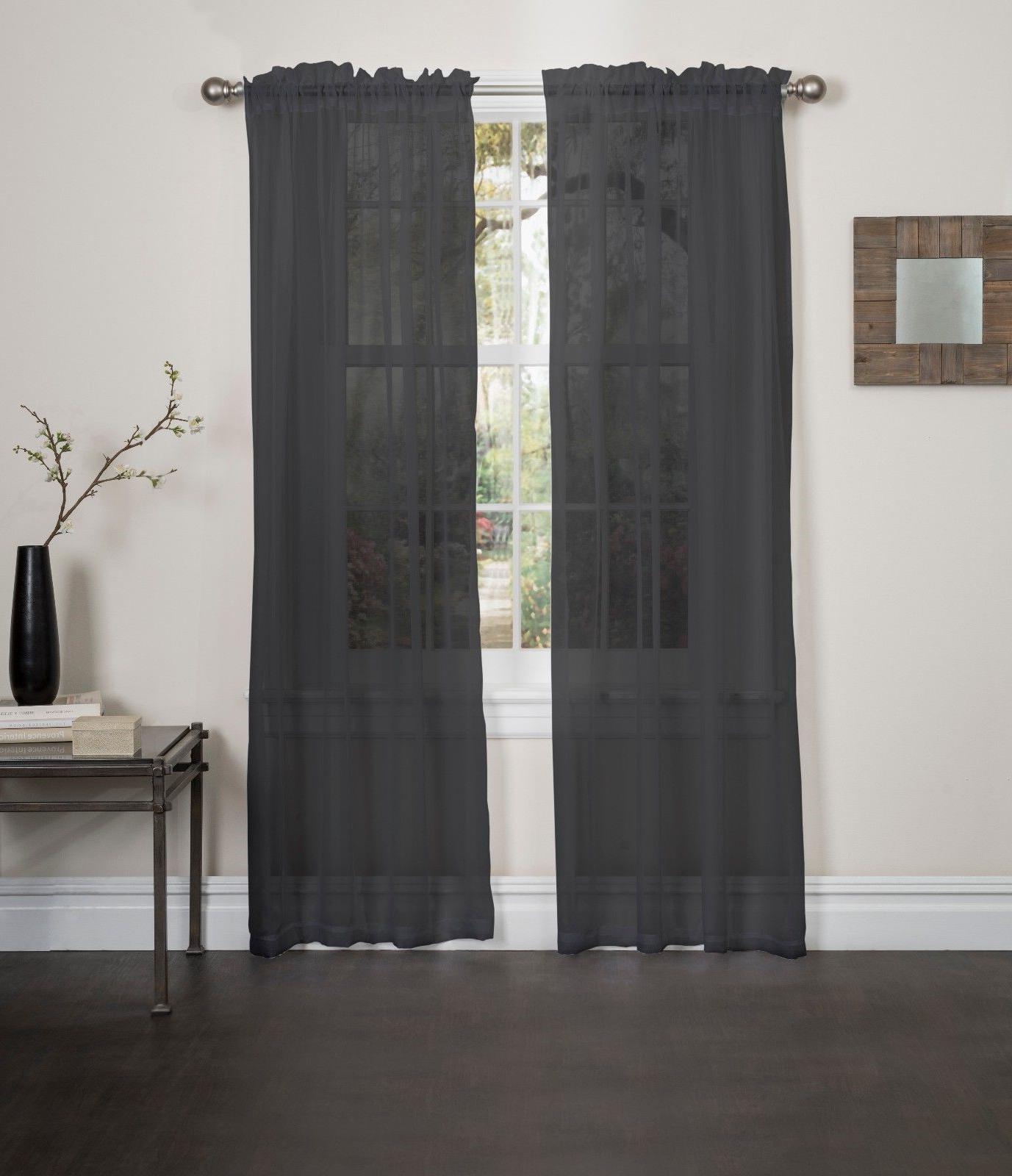 2021 Kashi Home Lisa Solid Sheer Rod Pocket Single Curtain Panel With Vina Sheer Bird Single Curtain Panels (View 18 of 20)