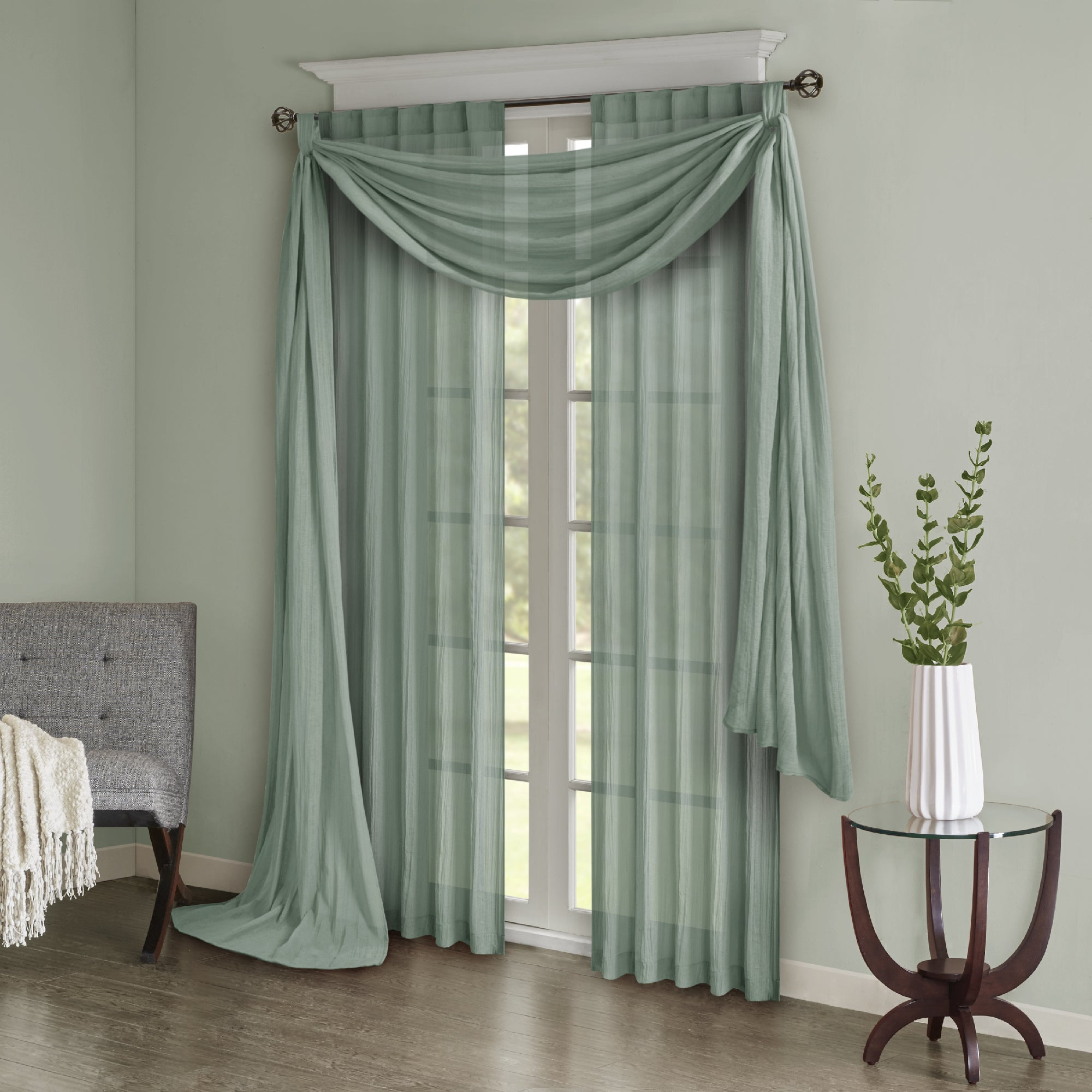 2021 Kaylee Solid Crushed Sheer Window Curtain Pairs For Madison Park Kaylee Solid Crushed Sheer Window Curtain Pair (View 4 of 20)