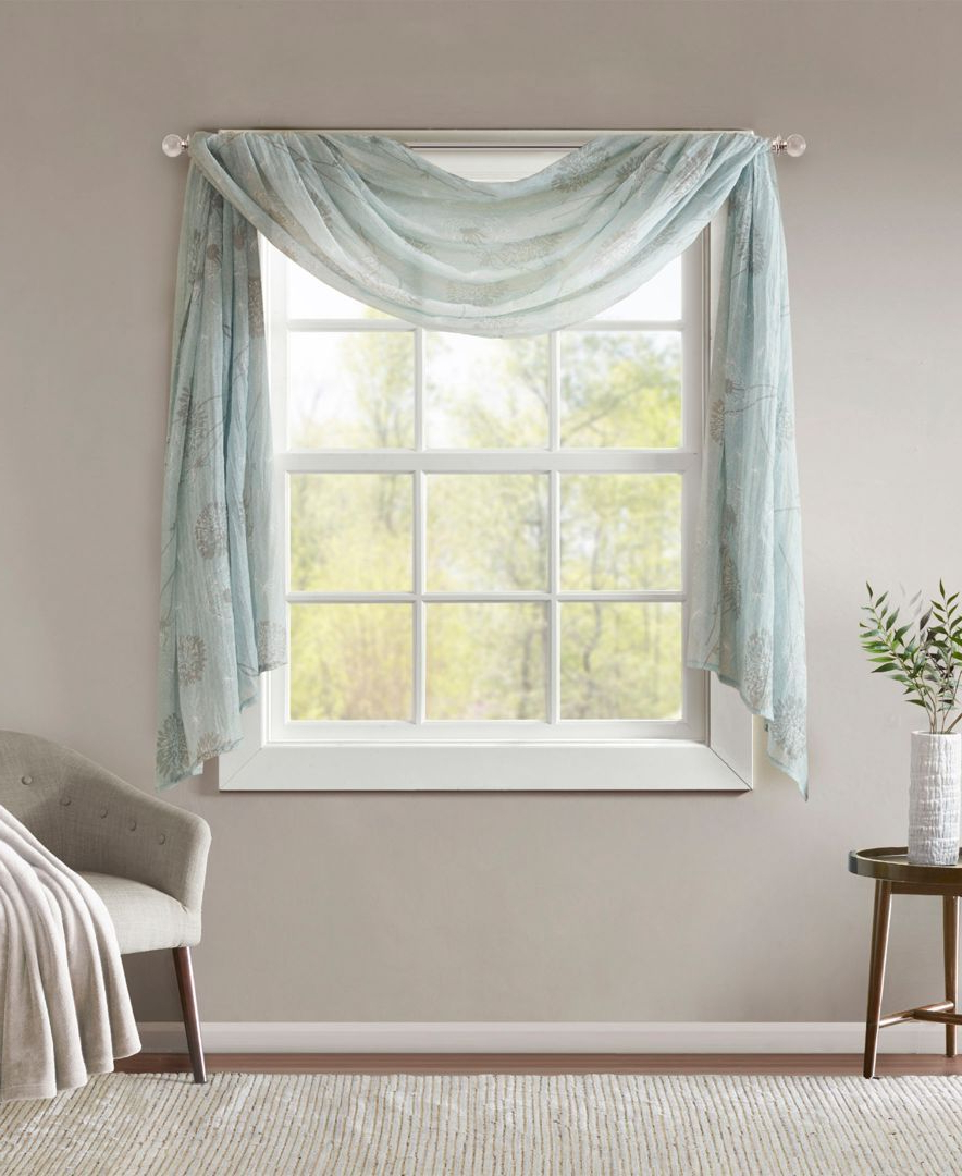 """2021 Kaylee Solid Crushed Sheer Window Curtain Pairs Within Madison Park Arella 42"""" X 144"""" Floral Print Crushed Sheer (View 11 of 20)"""