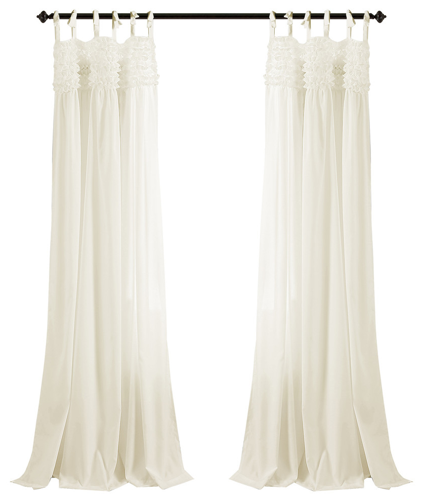 2021 Lydia Ruffle Window Curtain Panel Pairs Throughout Lydia Ruffle Window Panel Pair, Ivory (View 5 of 20)